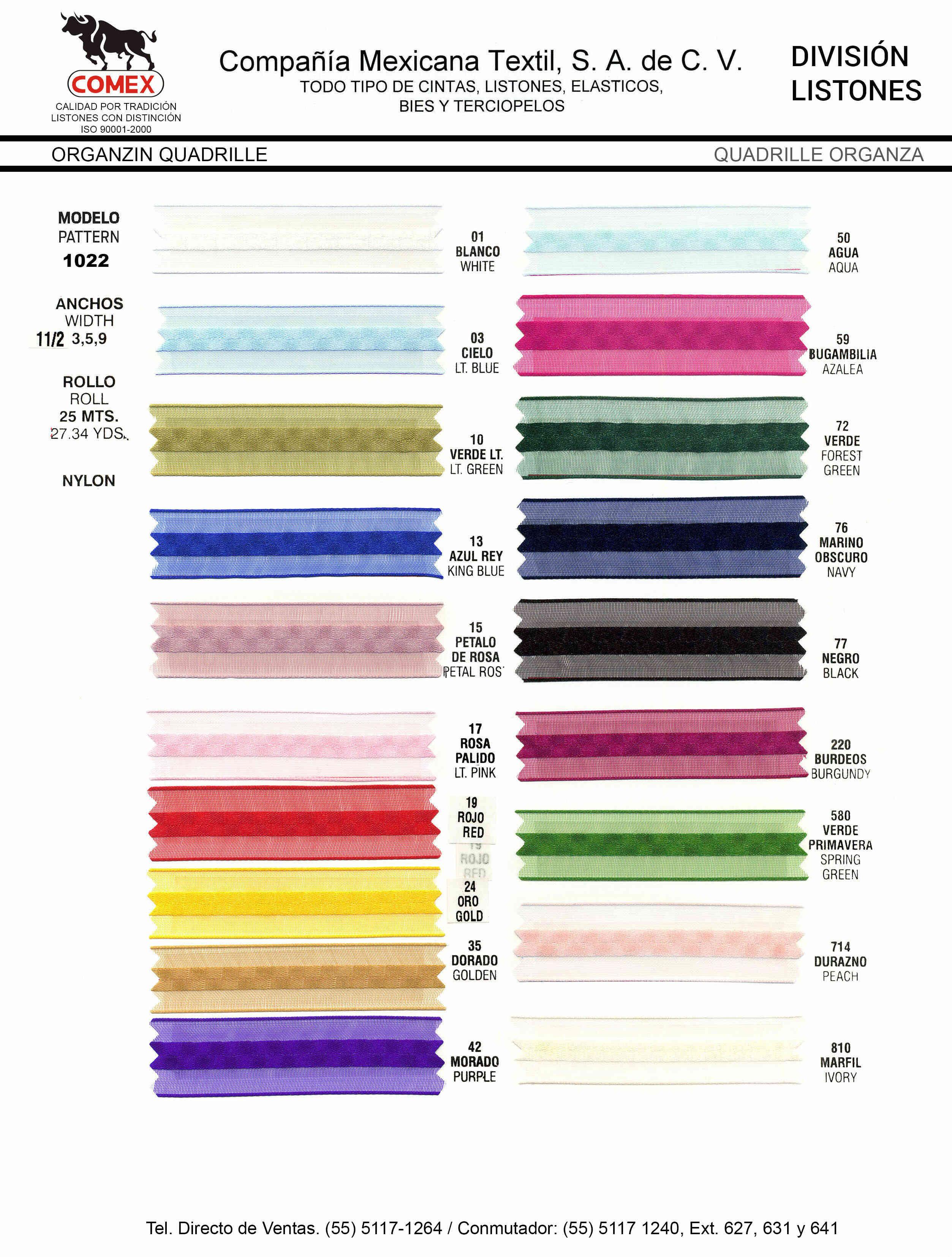 Anchos y Colores de Liston Mod.1022