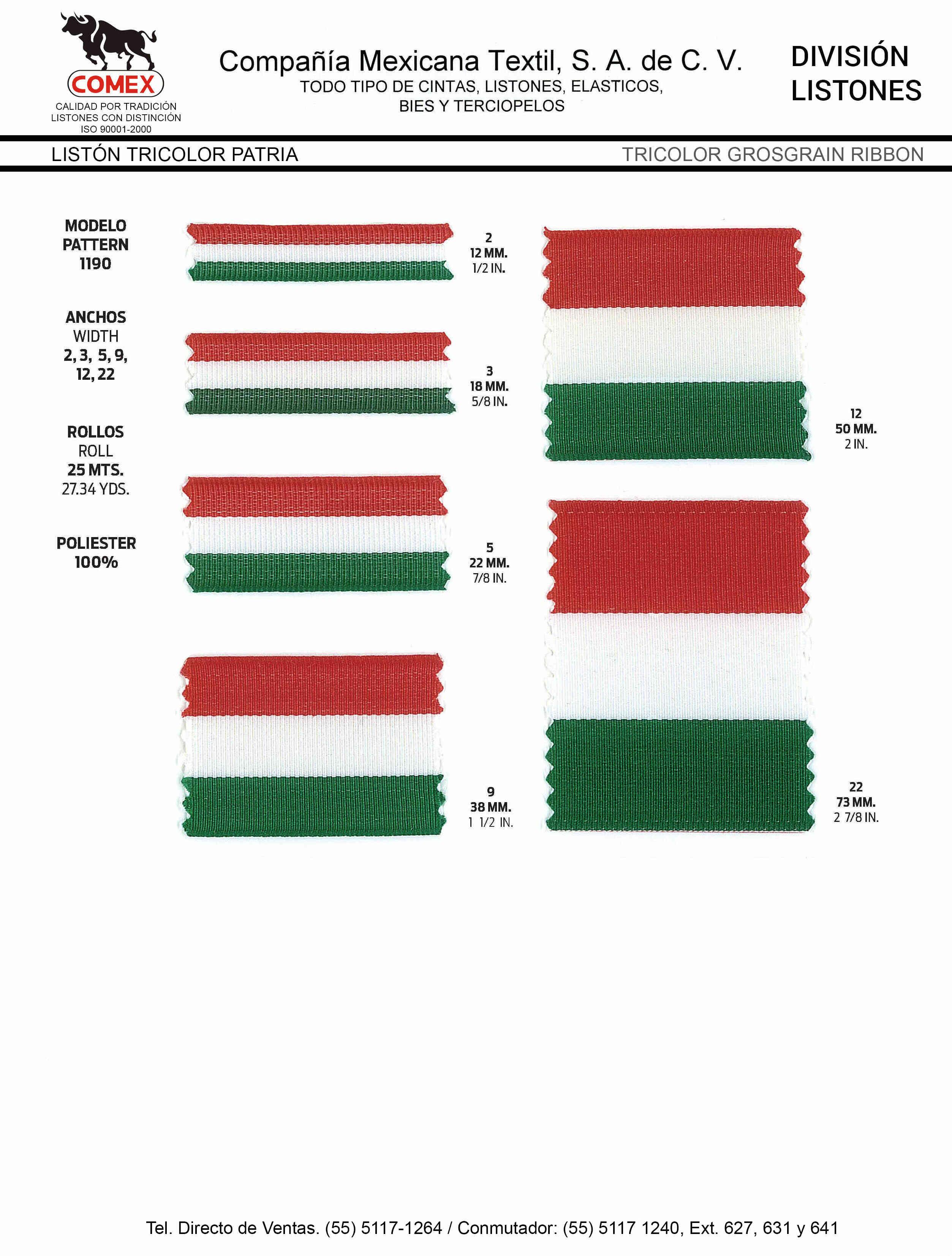 Anchos y Colores de Liston Mod.1190