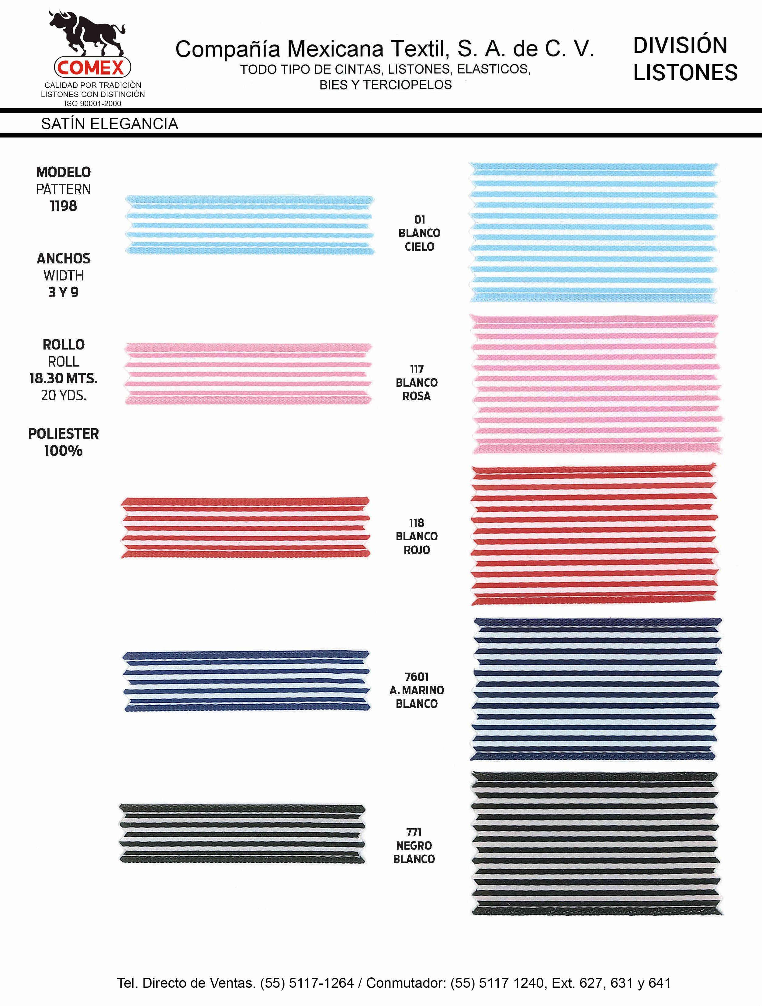Anchos y Colores de Liston Mod.1198 18.30 Mt.