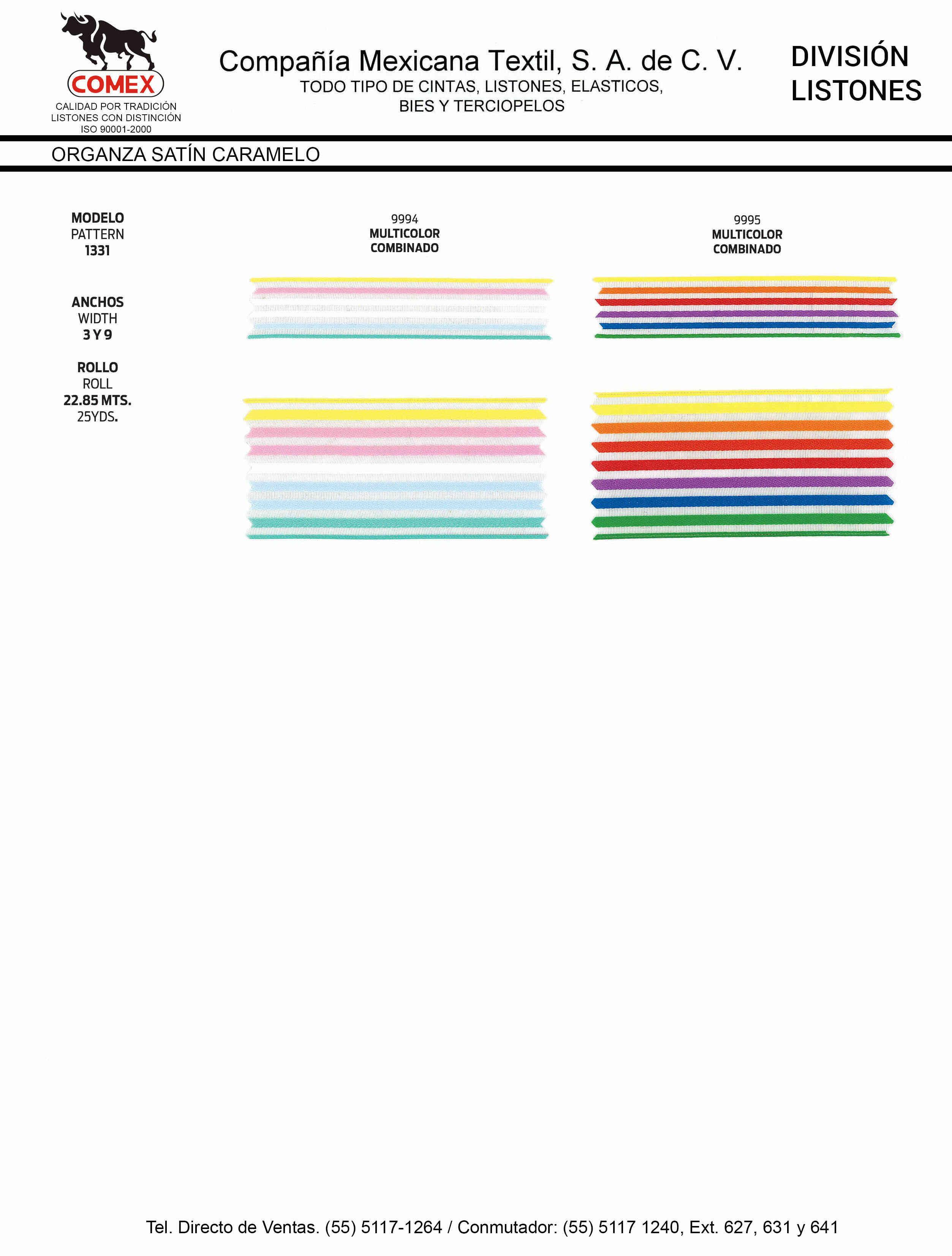 Anchos y Colores de Liston Mod.1331