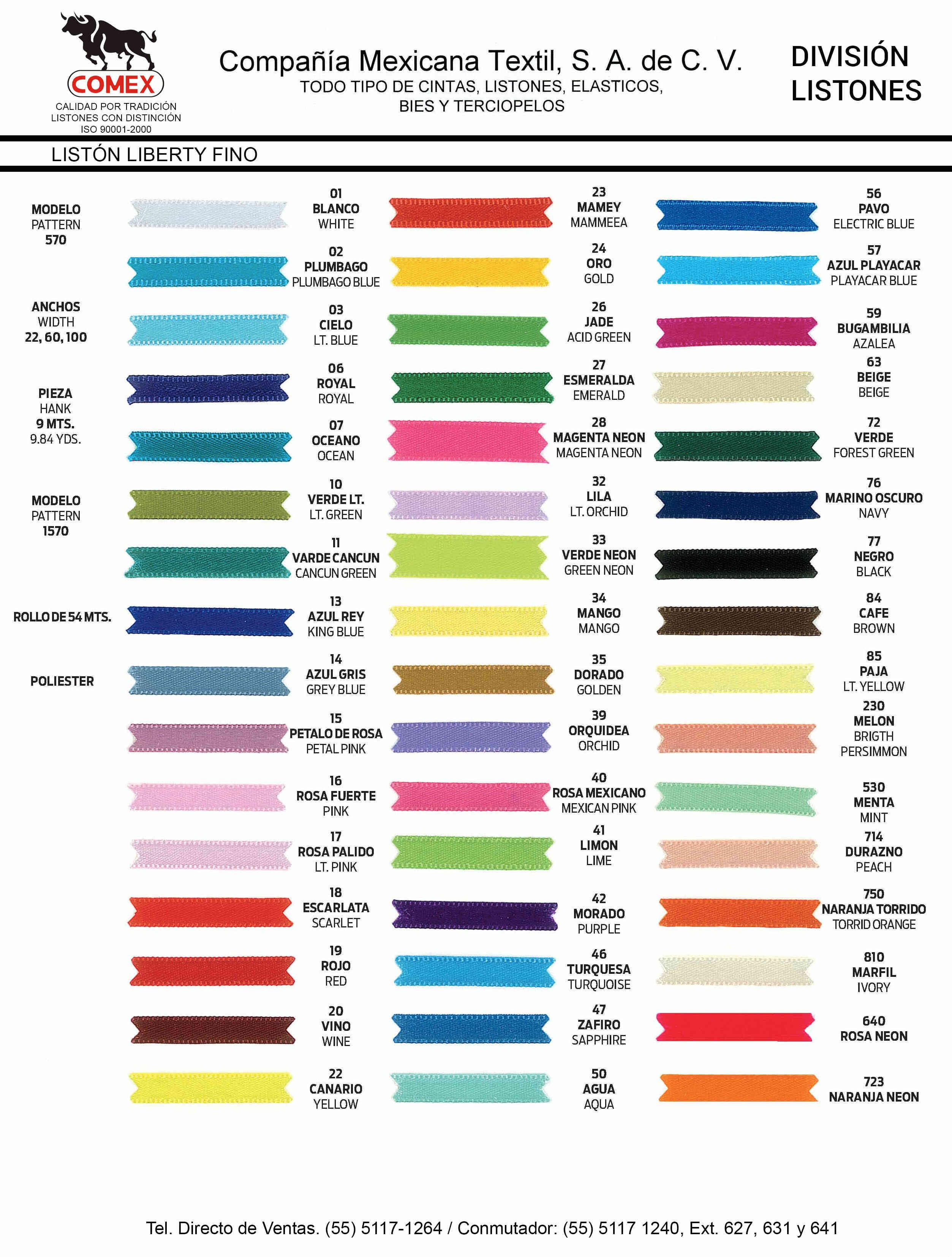 Anchos y Colores de Liston Mod.1570 54.00 Mt.