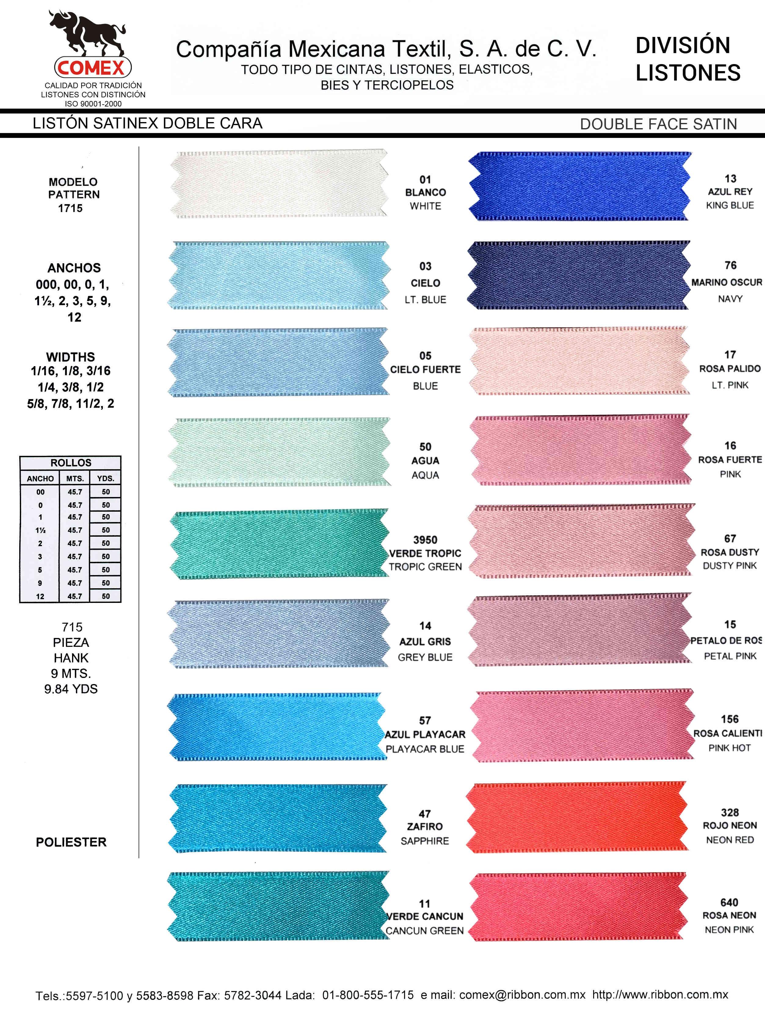 Anchos y Colores de Liston Mod.1715 45.70 Mt.