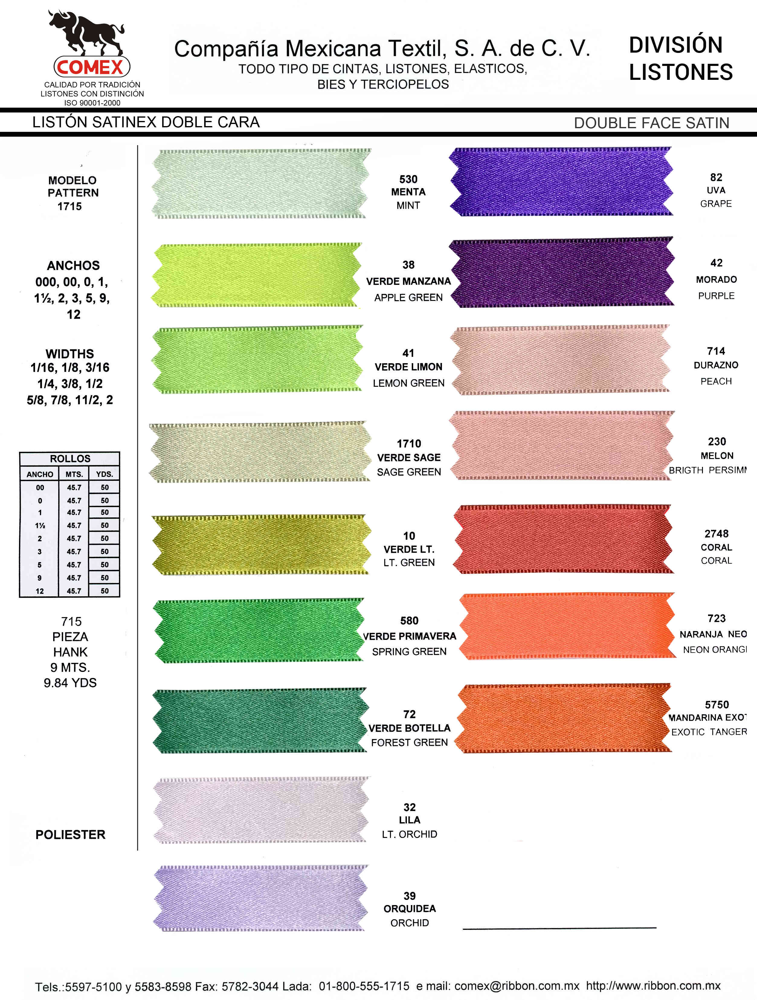 Anchos y Colores de Liston Mod.1715