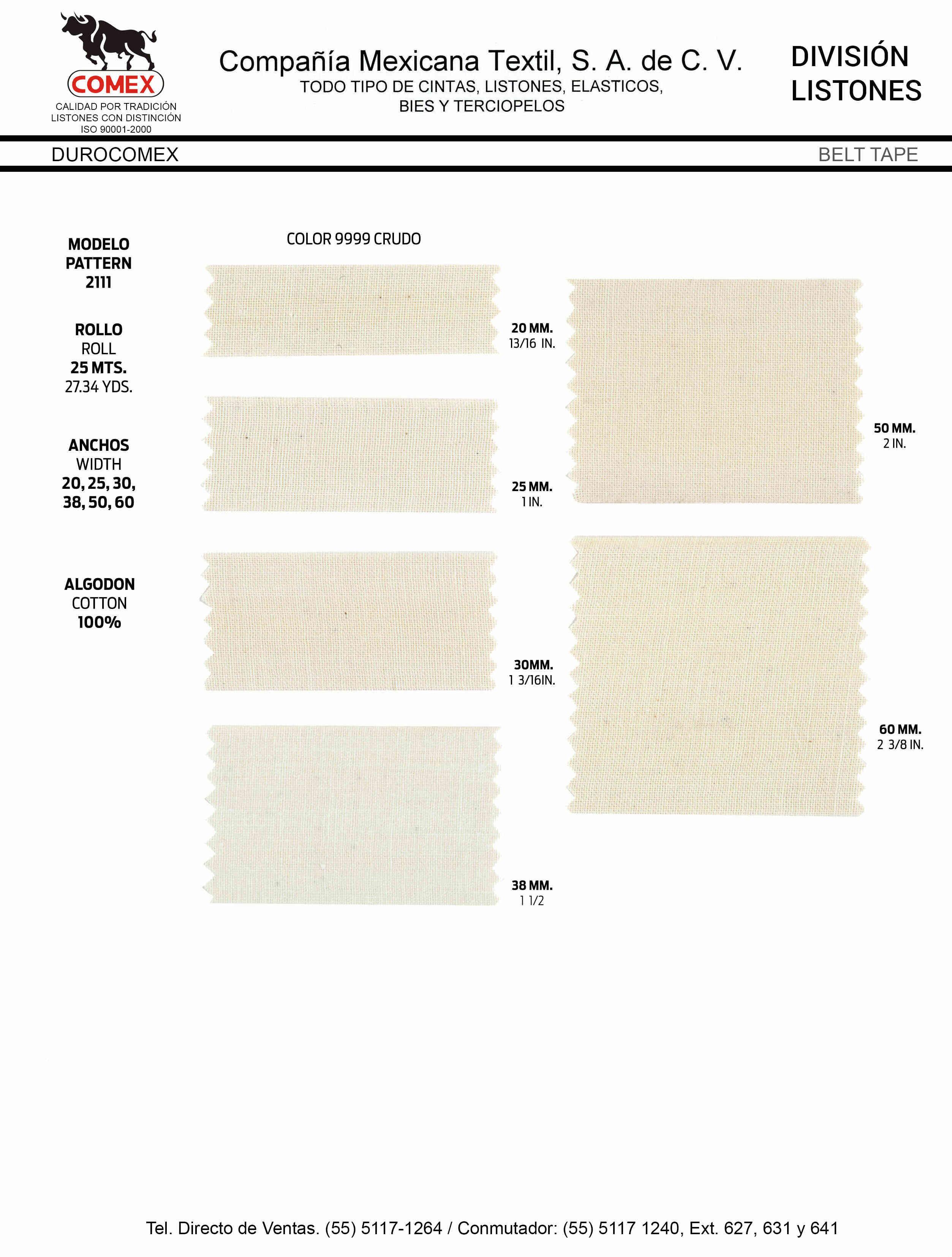 Anchos y Colores de Liston Mod.2111