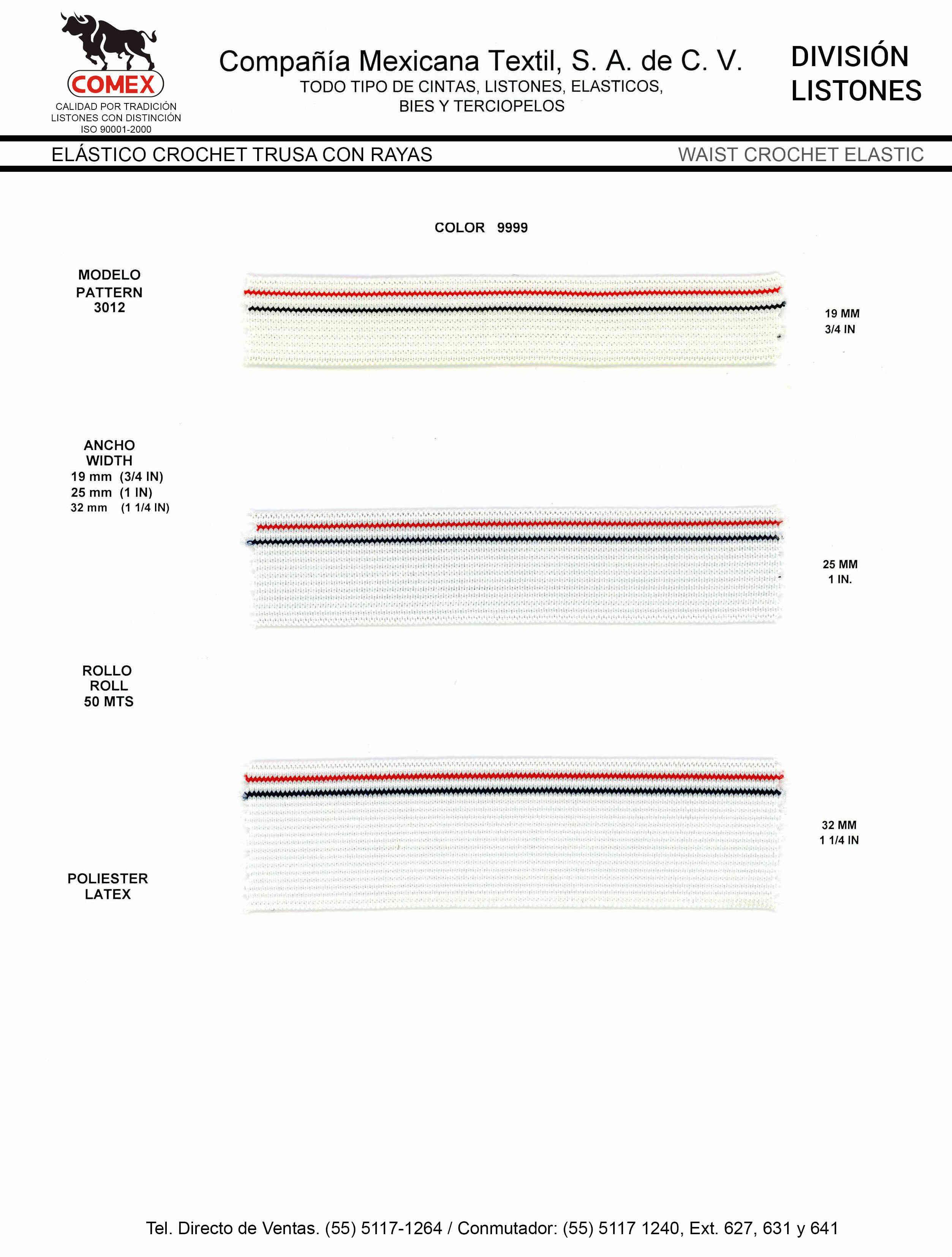 Anchos y Colores de Liston Mod.3012 50.00 Mt.