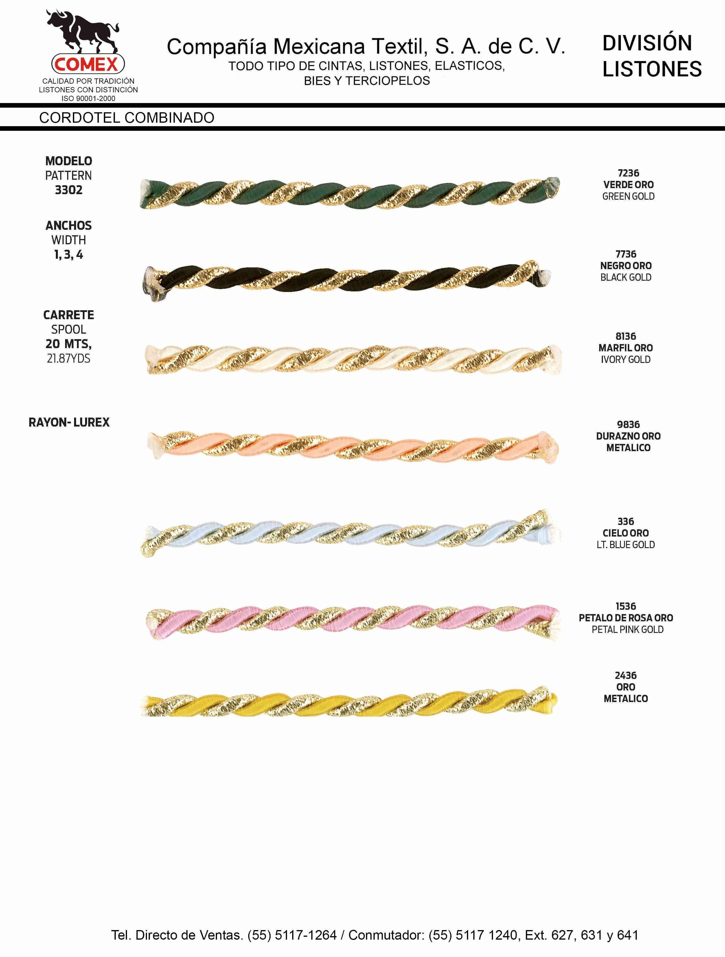 Anchos y Colores de Liston Mod.3302