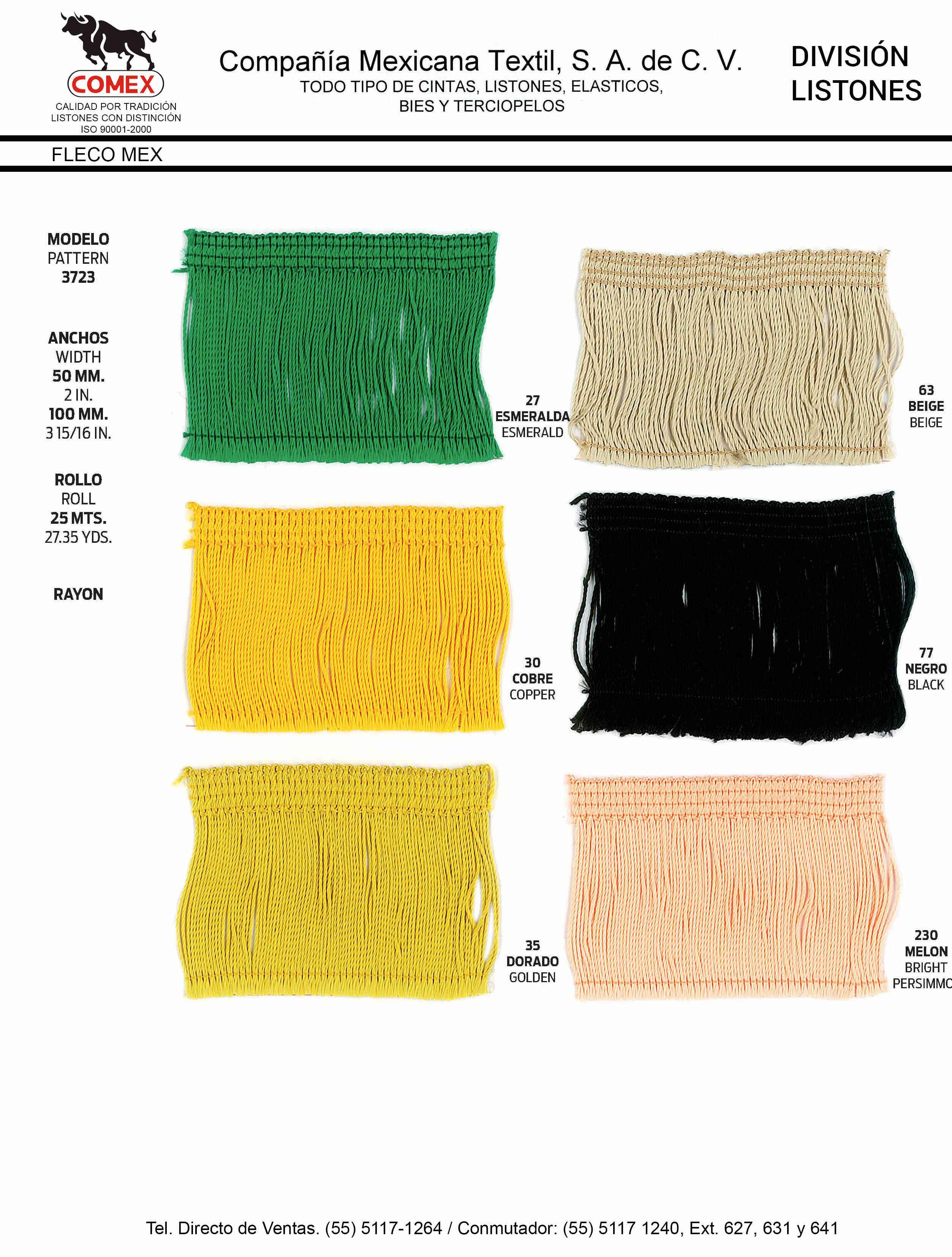 Anchos y Colores de Liston Mod.3723