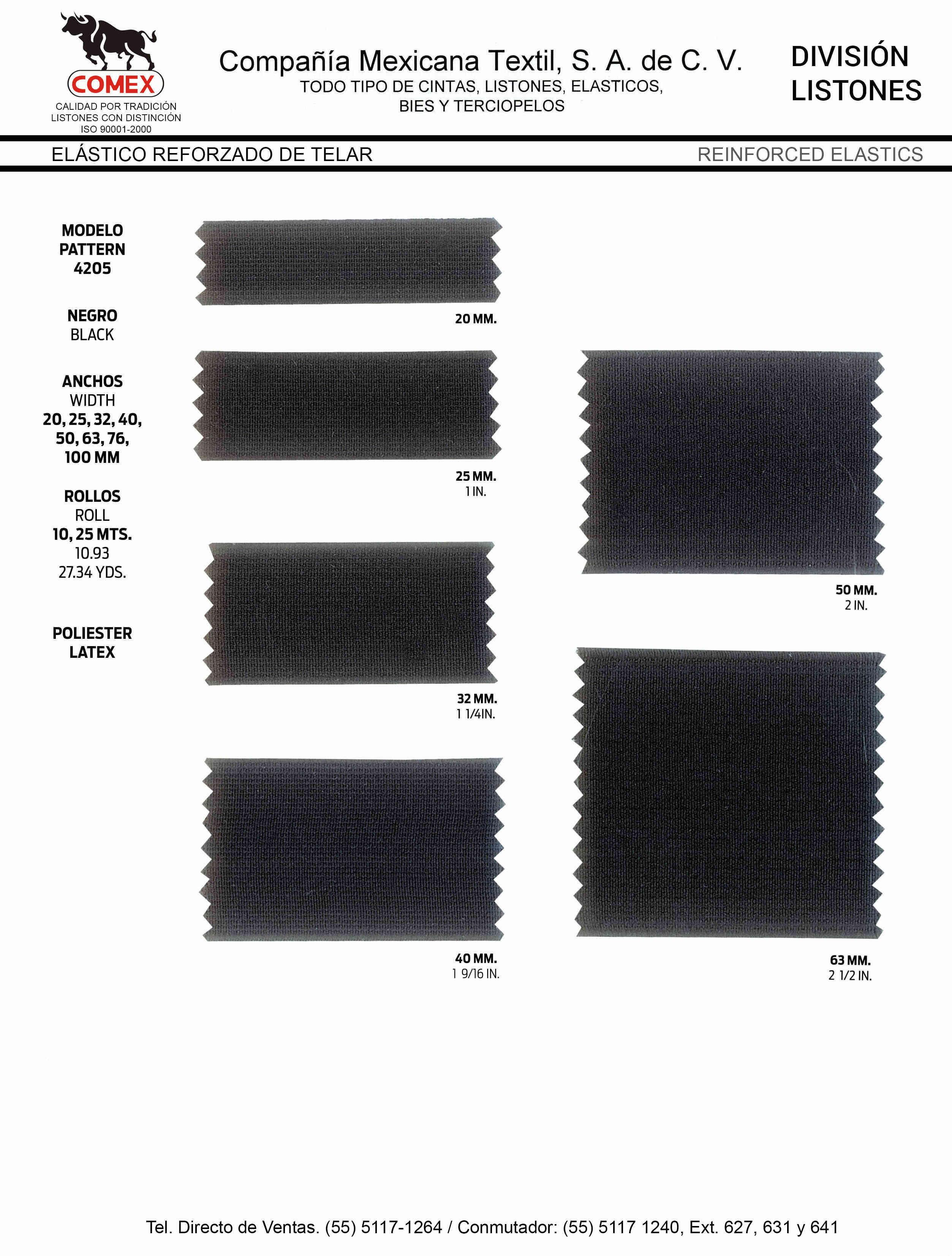 Anchos y Colores de Liston Mod.4205