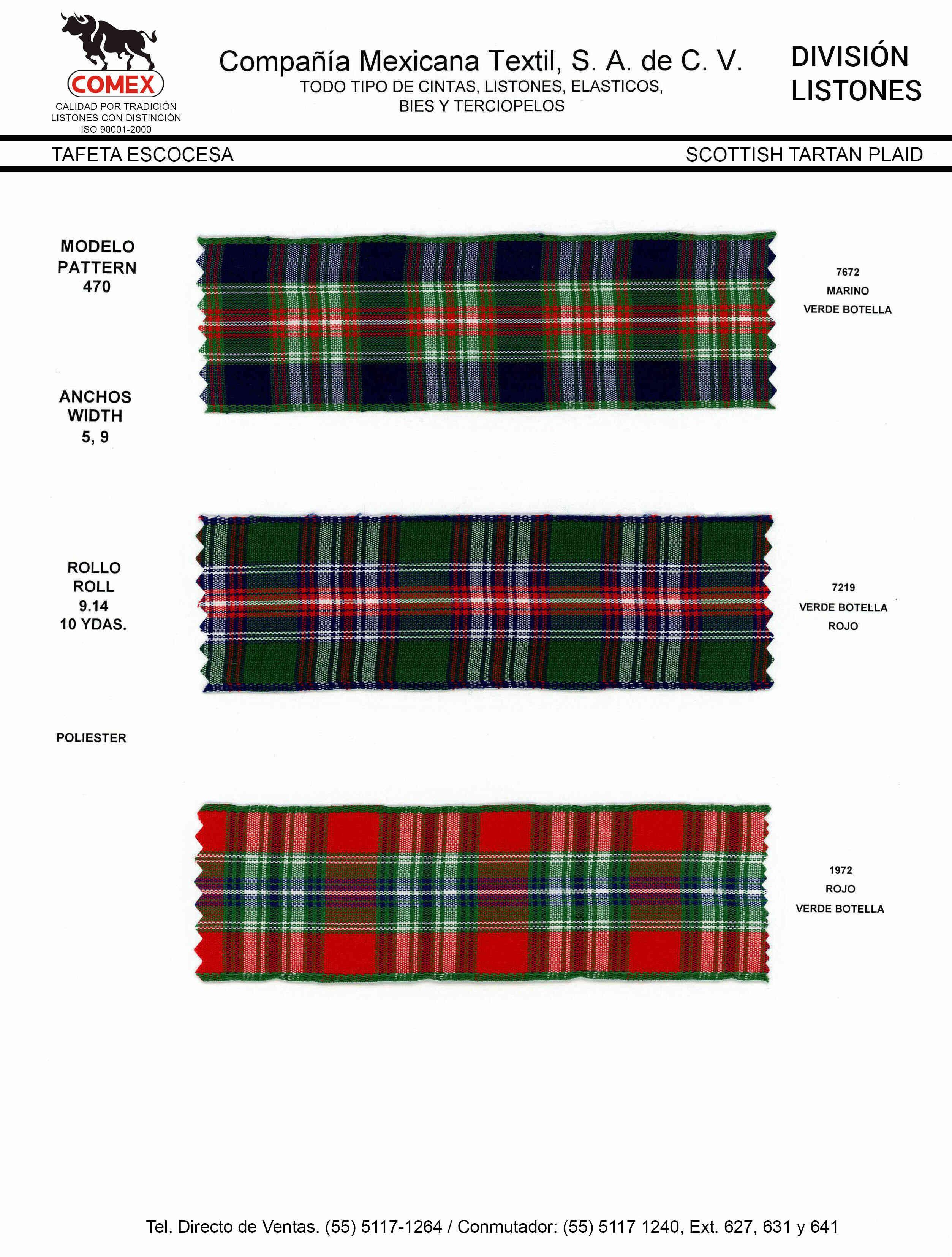 Anchos y Colores de Liston Mod.470