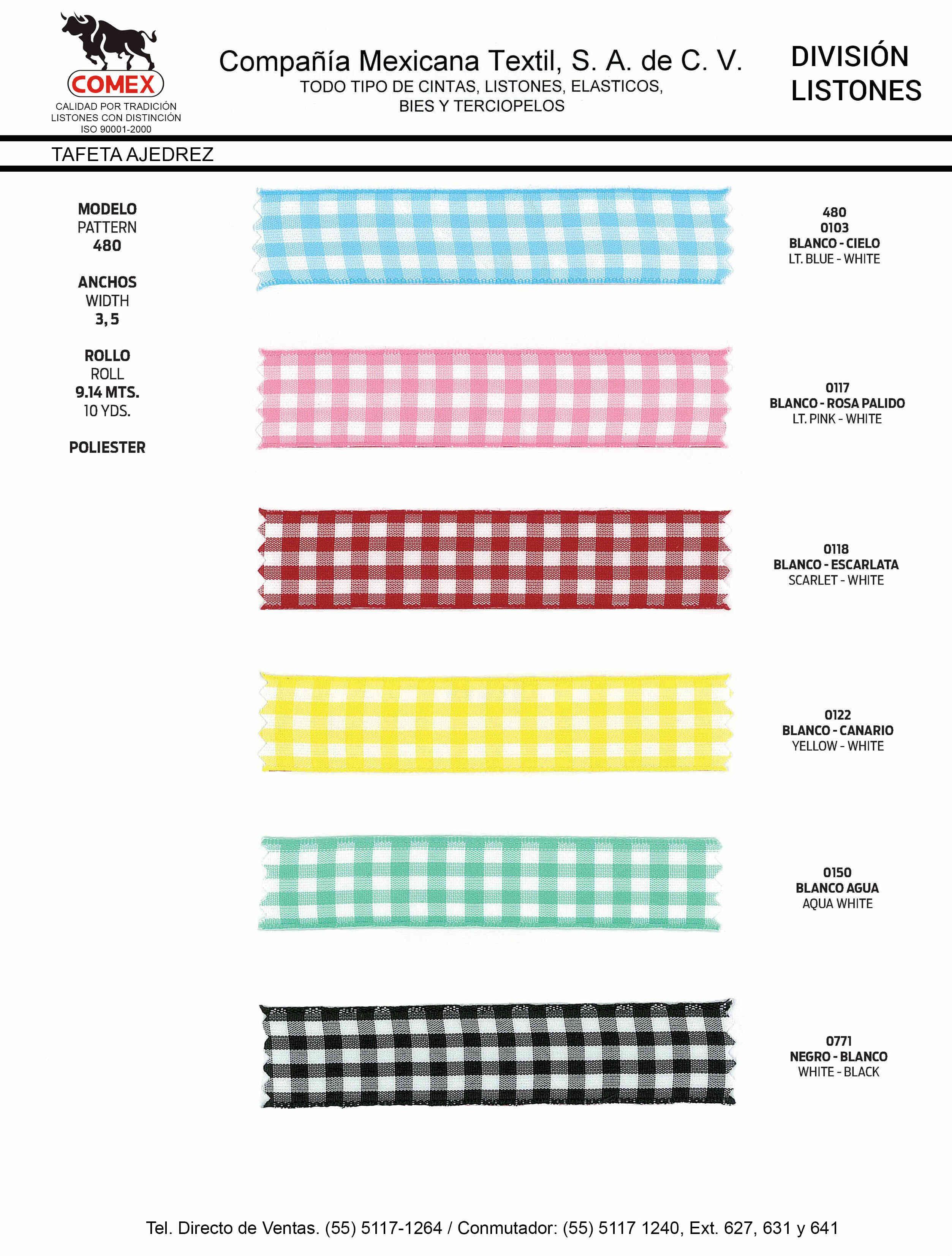 Anchos y Colores de Liston Mod.480