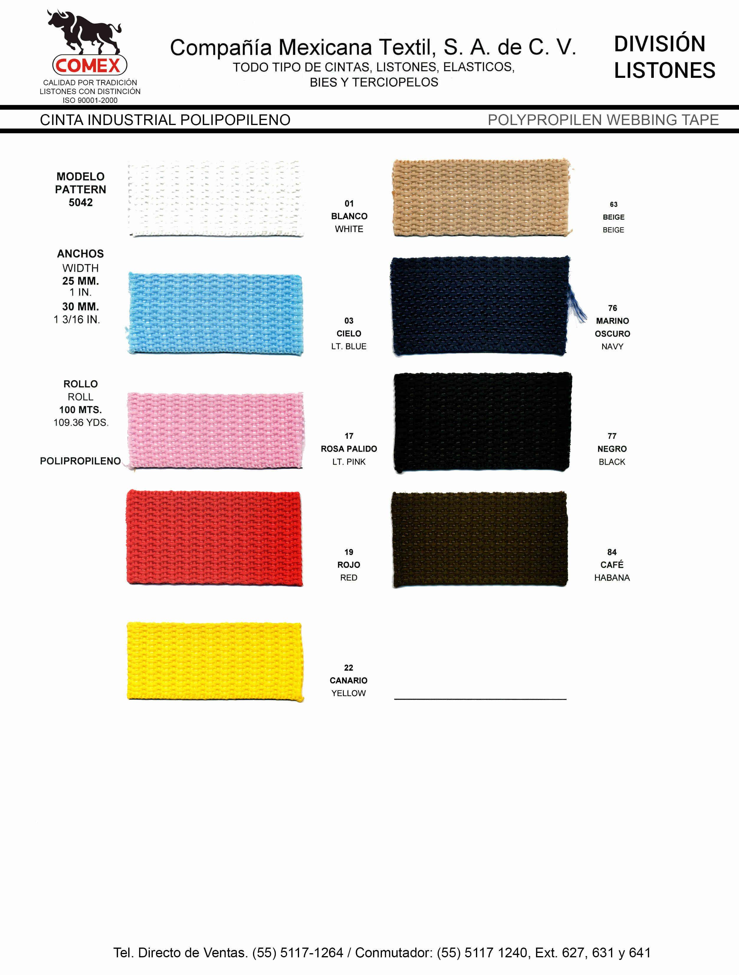 Anchos y Colores de Liston Mod.5042 100.00 Mt.