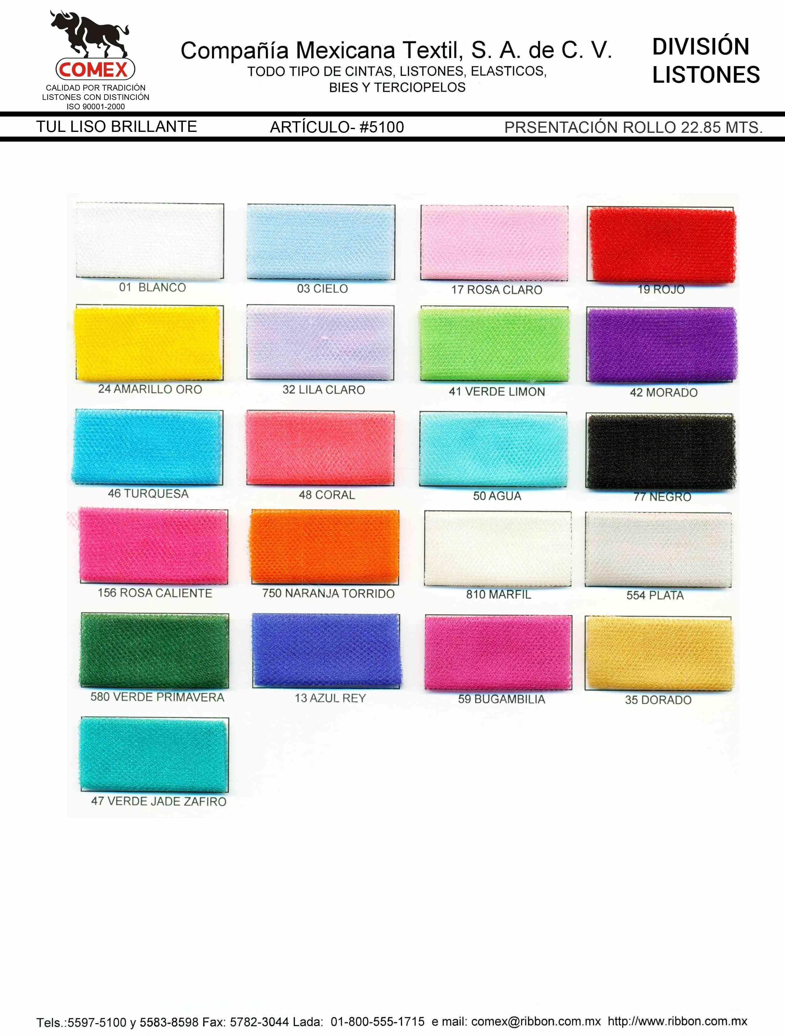 Anchos y Colores de Liston Mod.5100