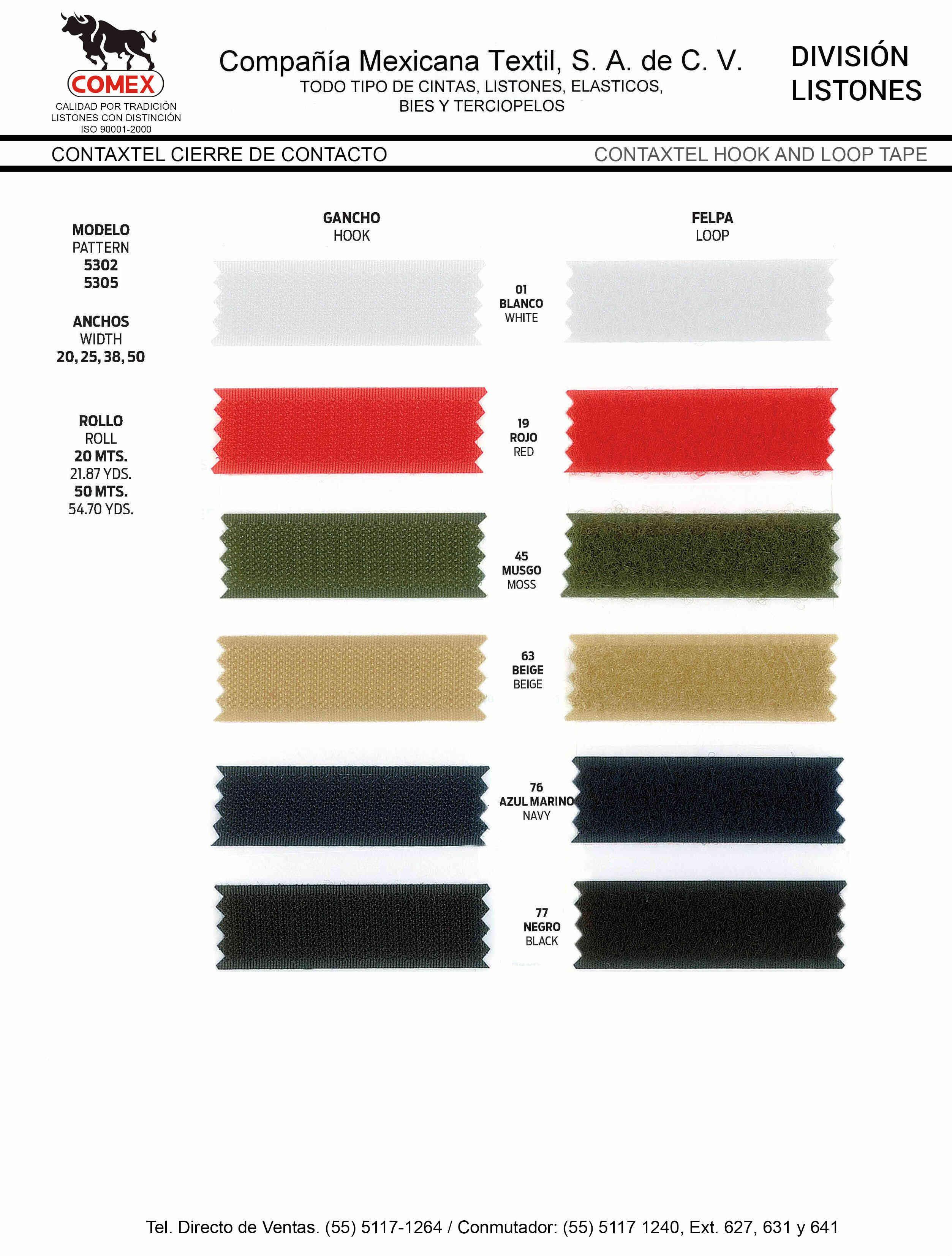 Anchos y Colores de Liston Mod.5302 20.00 Mt.