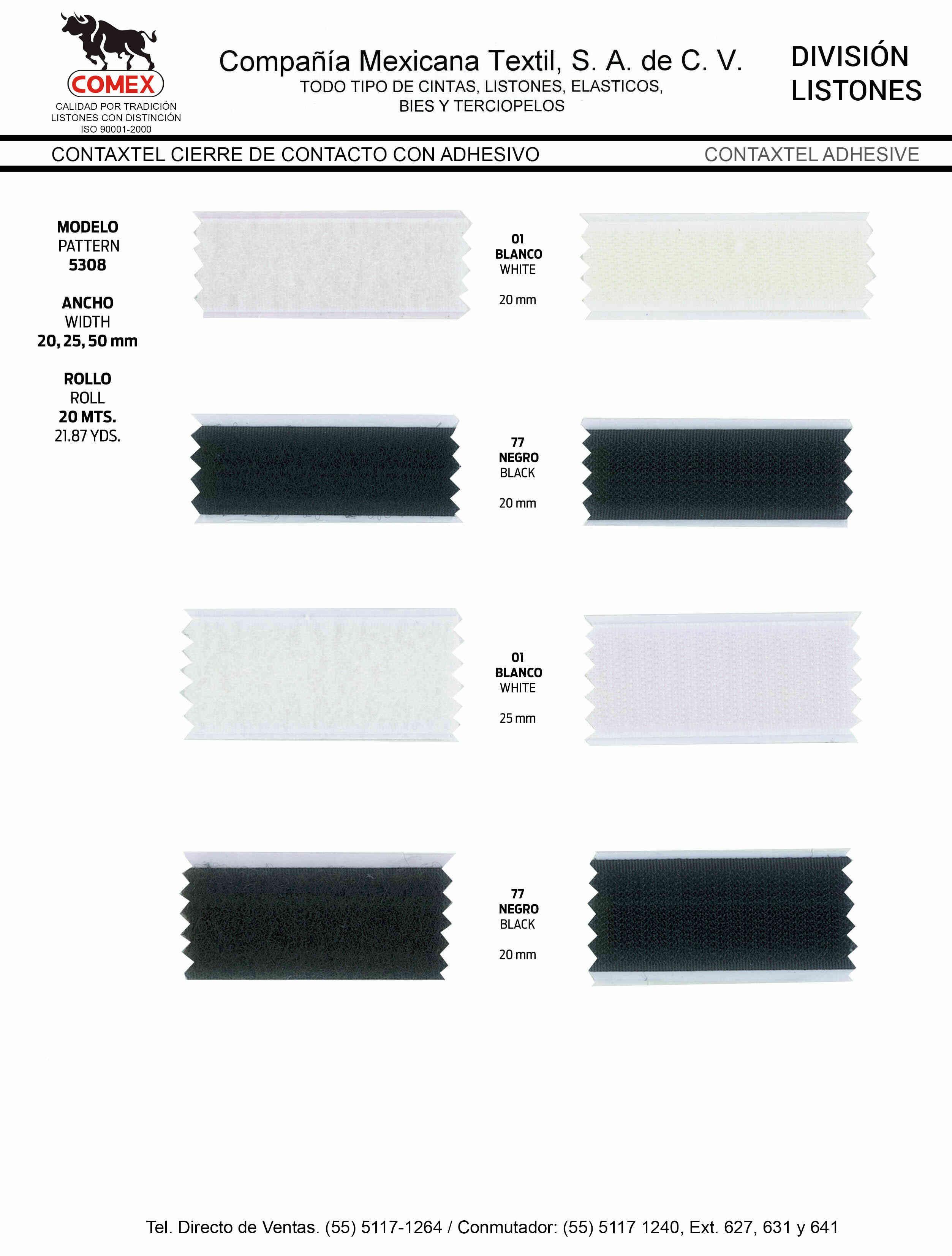 Anchos y Colores de Liston Mod.5309 20.00 Mt.