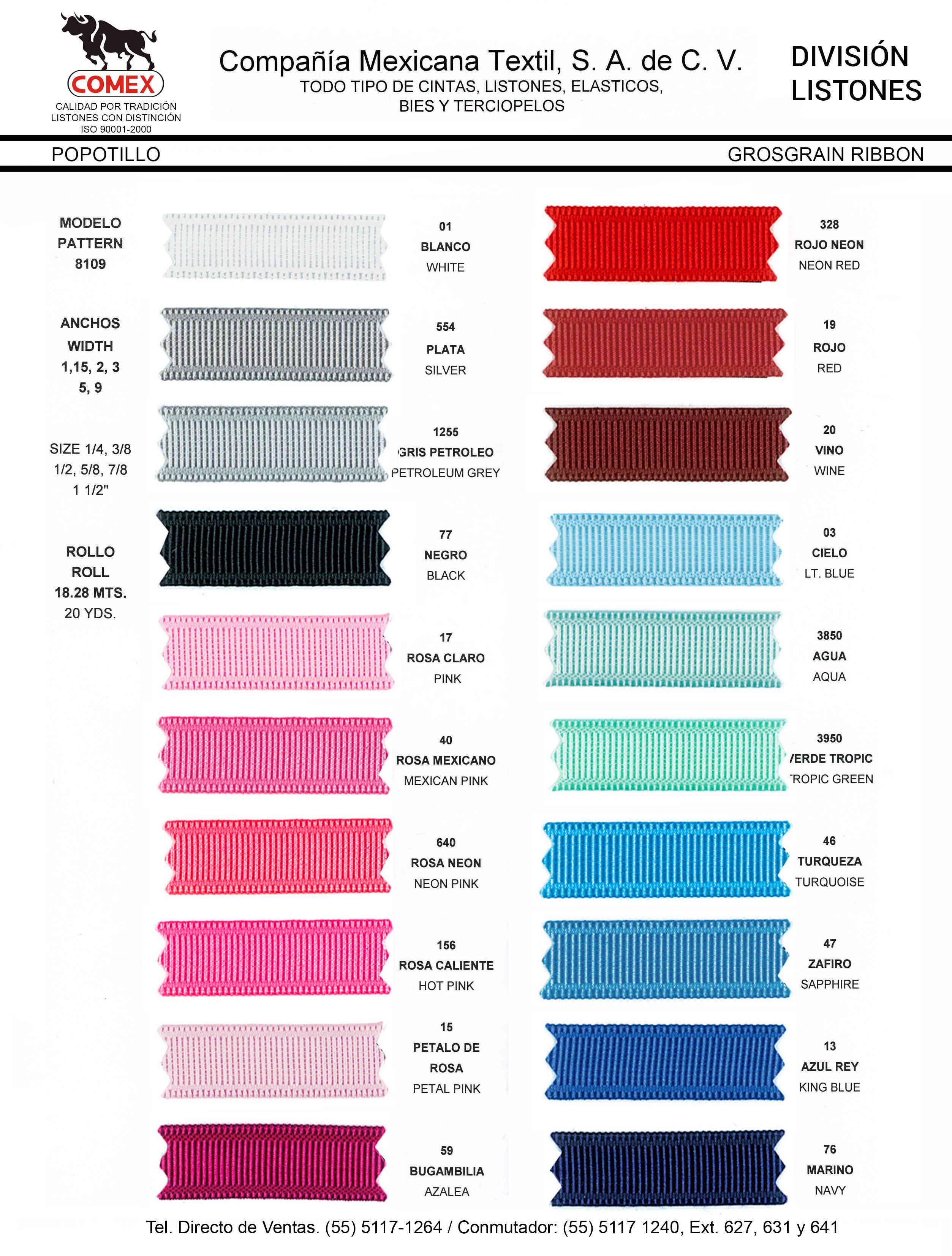 Anchos y Colores de Liston Mod.8109