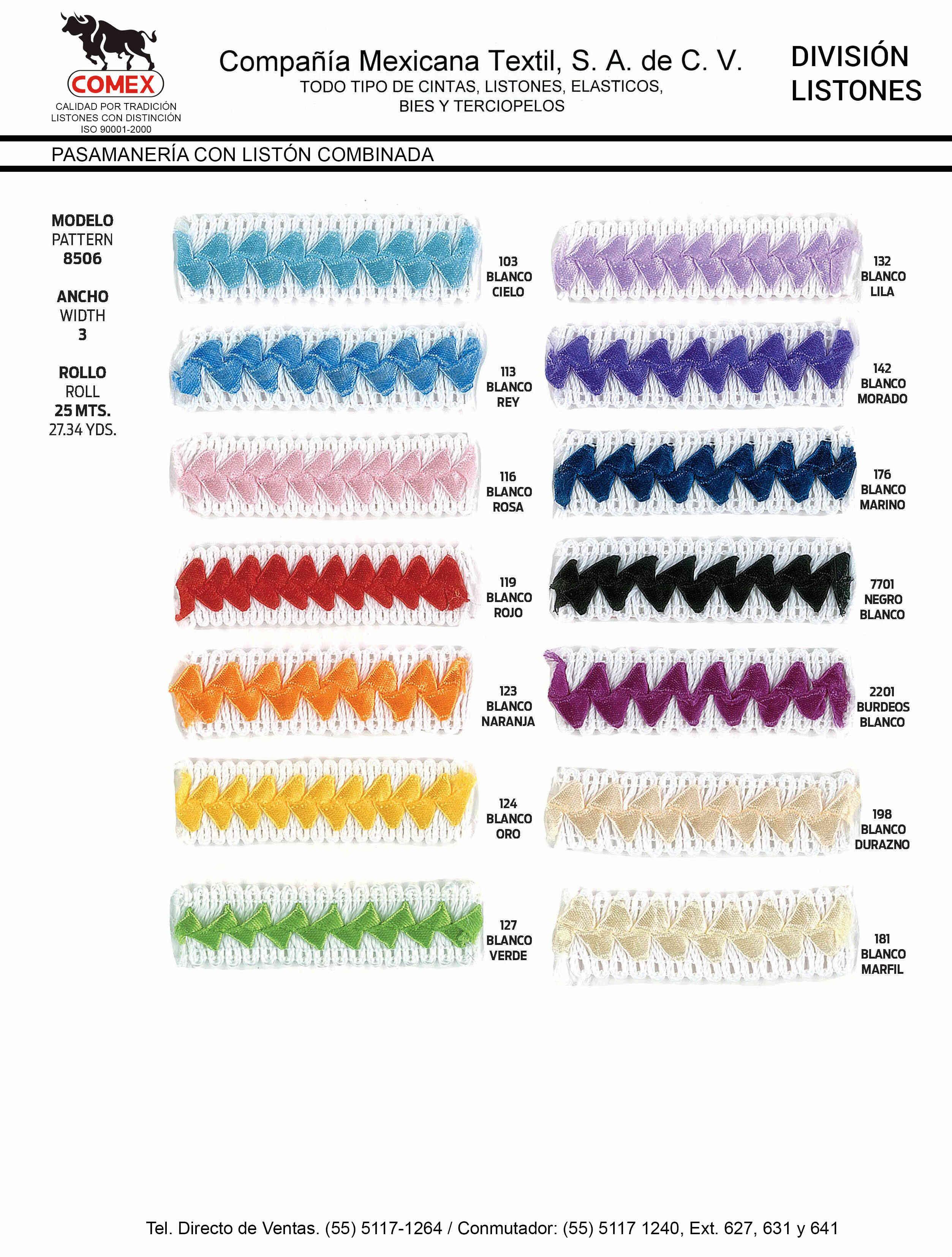 Anchos y Colores de Liston Mod.8506