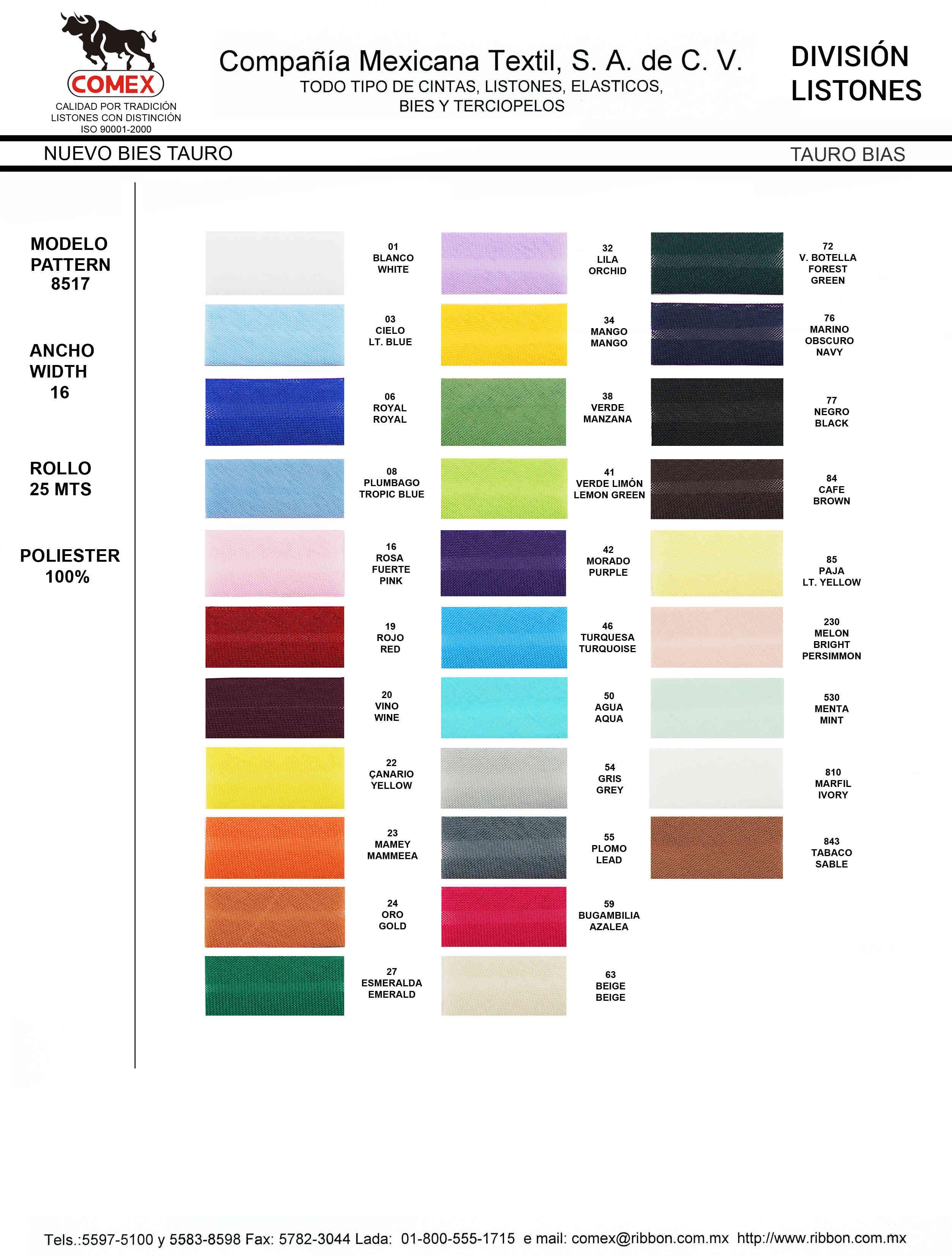 Anchos y Colores de Liston Mod.8517