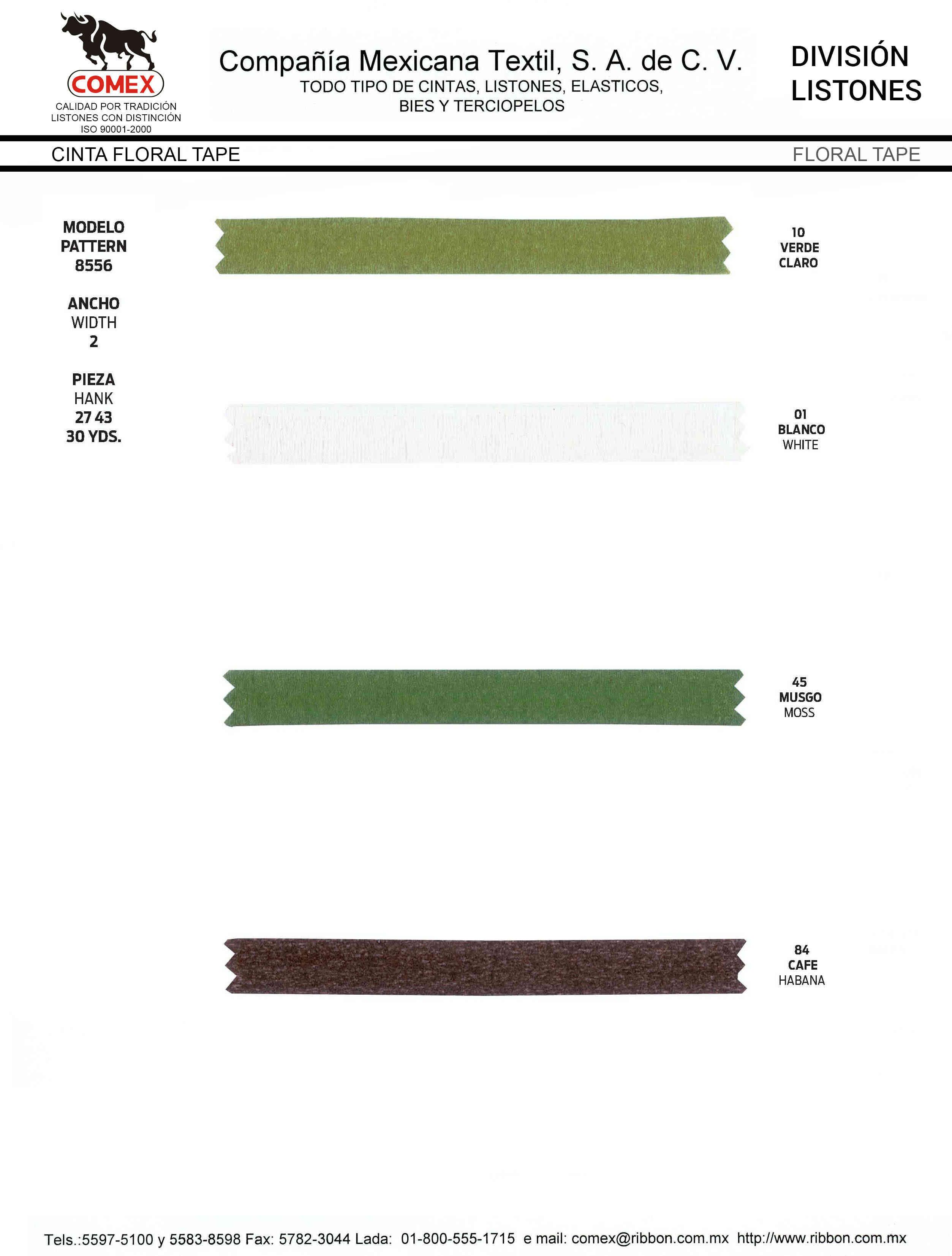 Anchos y Colores de Liston Mod.8555