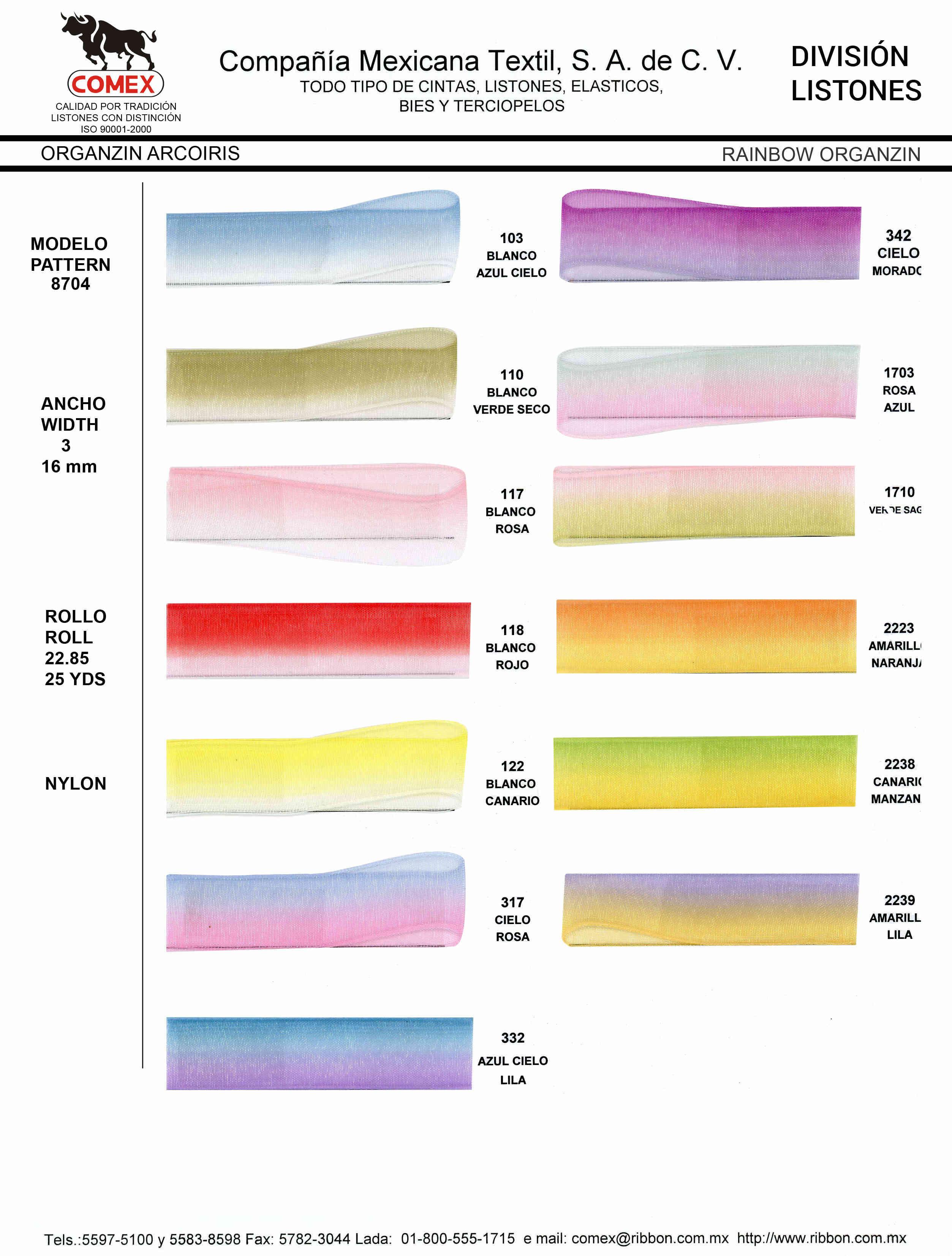 Anchos y Colores de Liston Mod.8704