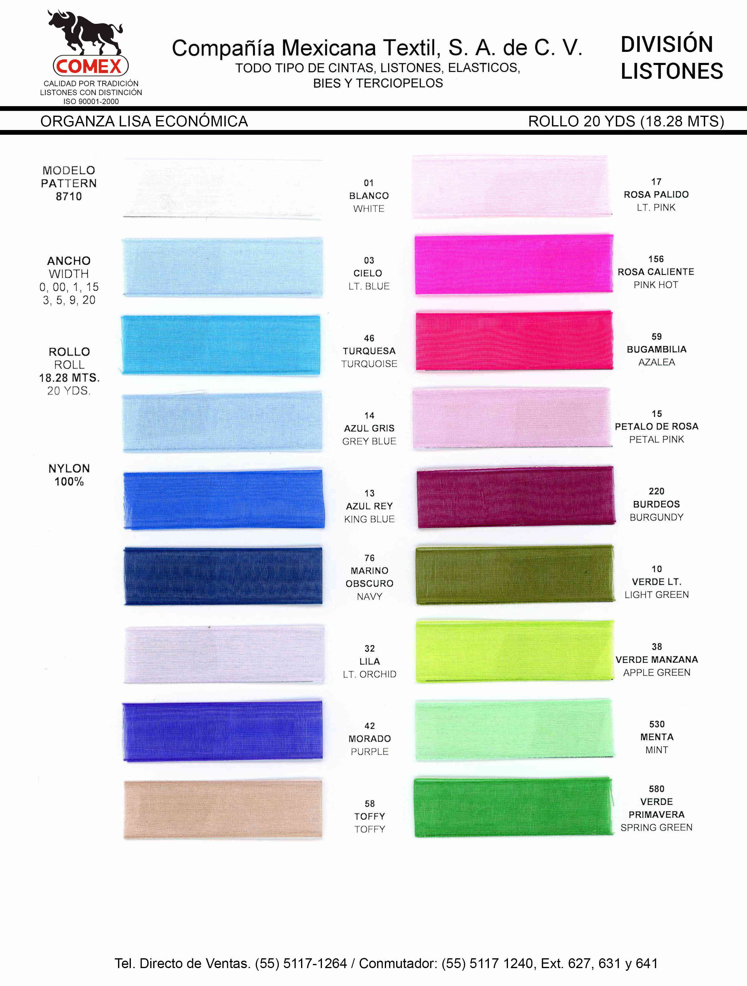 Anchos y Colores de Liston Mod.8710