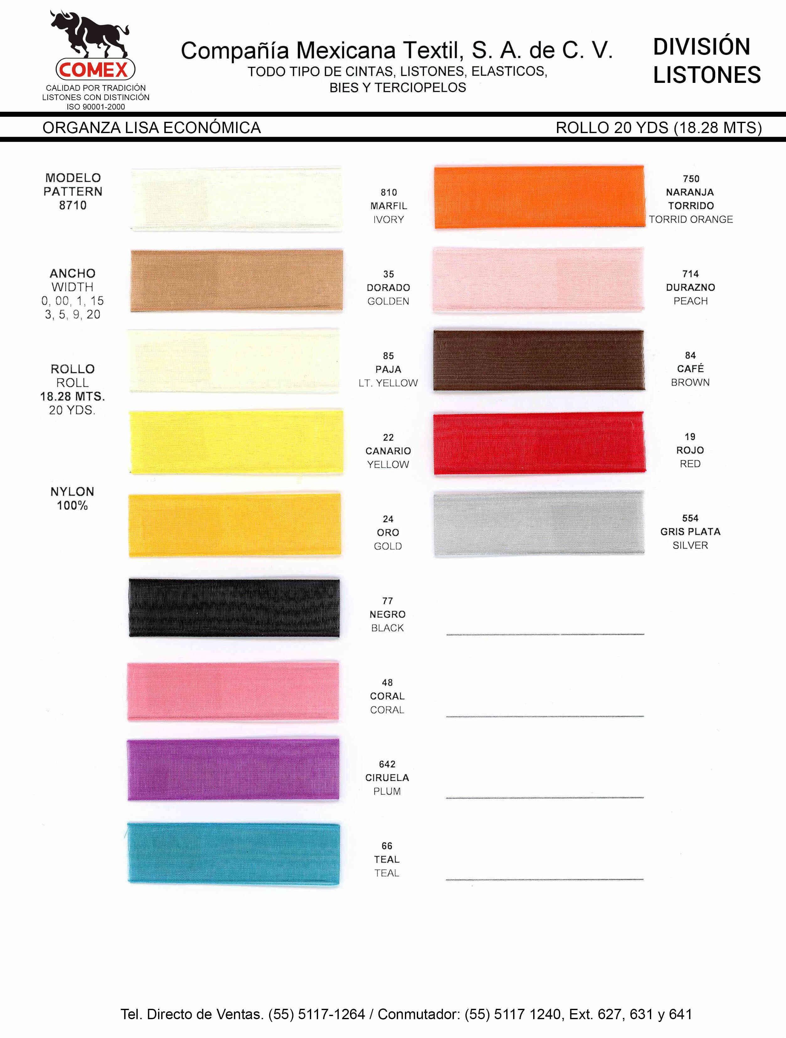 Anchos y Colores de Liston Mod.8710 18.28 Mt