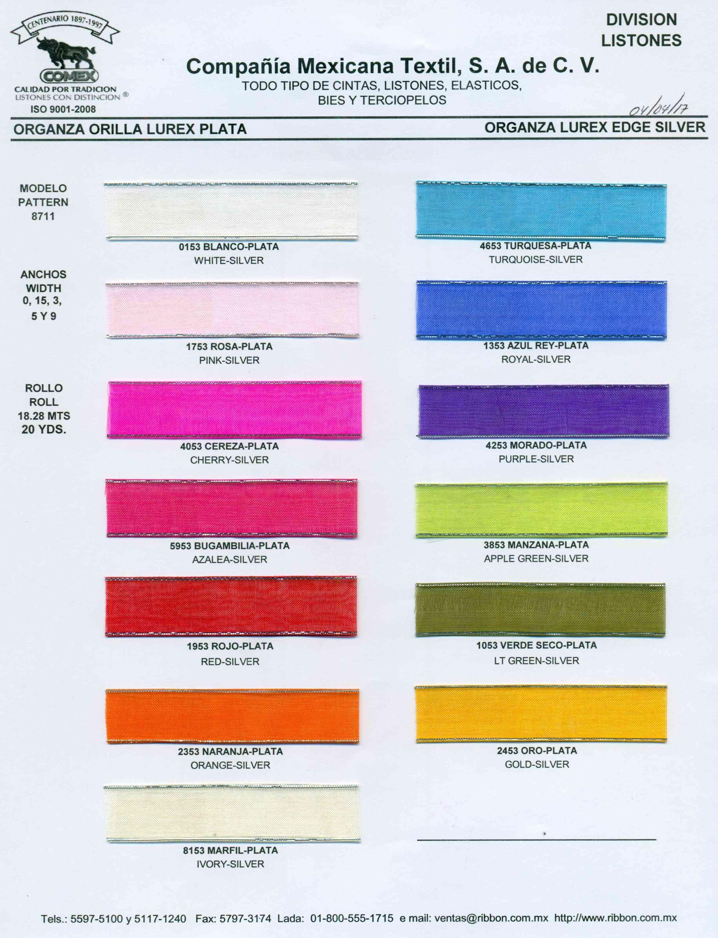 Anchos y Colores de Liston Mod.8711