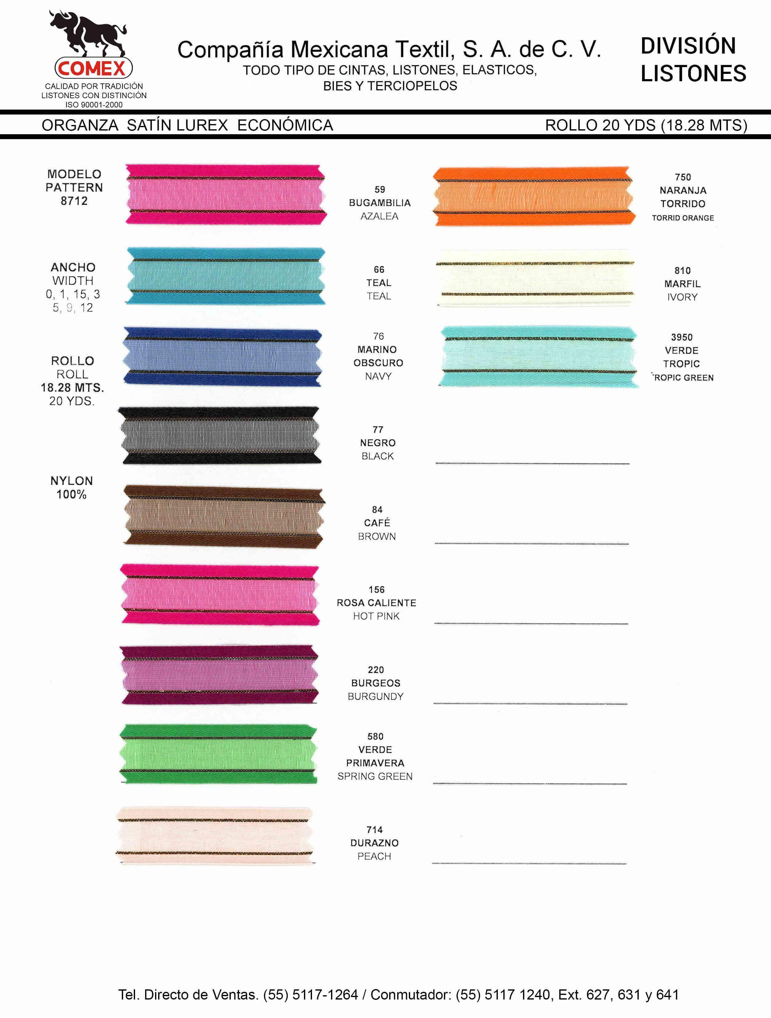 Anchos y Colores de Liston Mod.8712