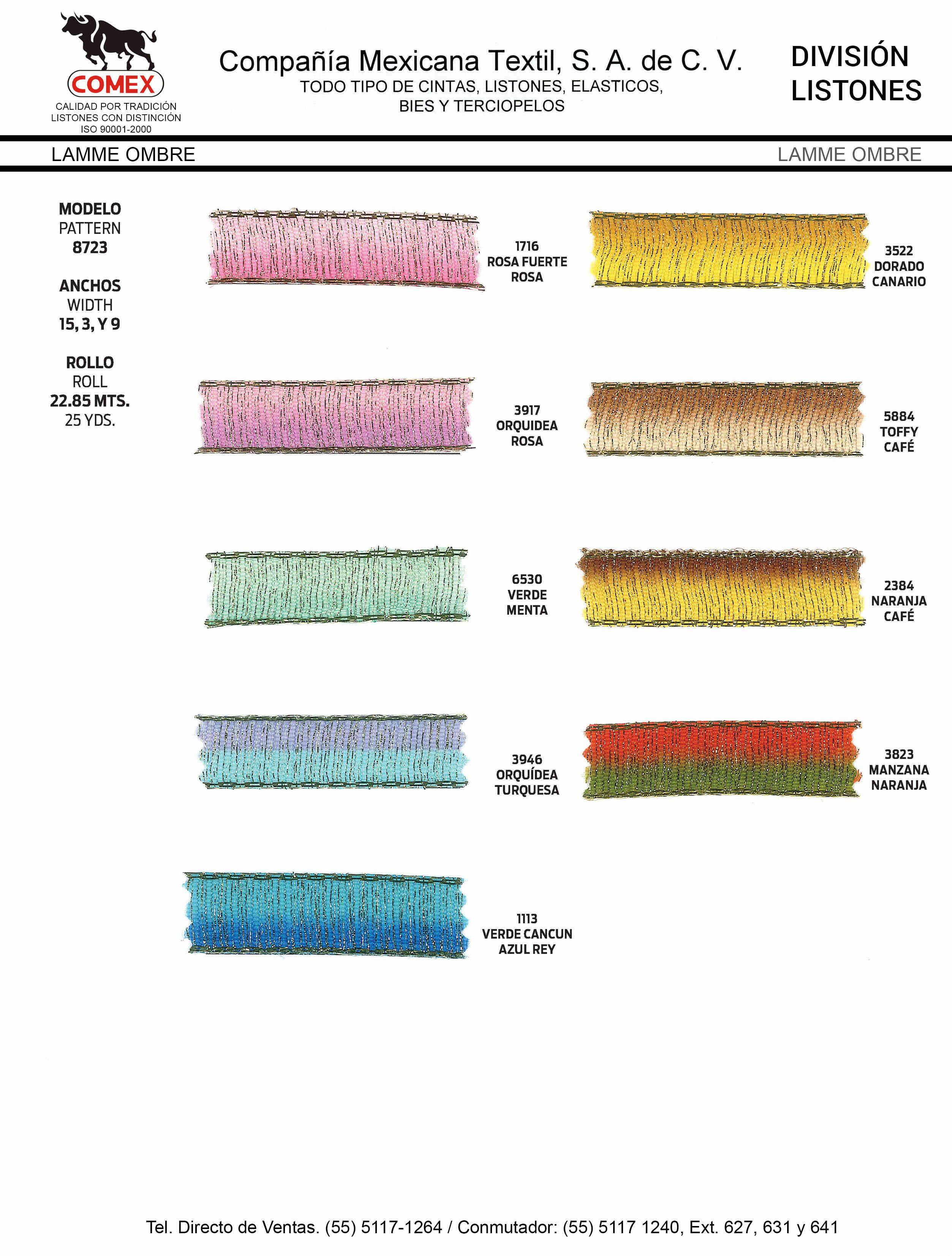 Anchos y Colores de Liston Mod.8723