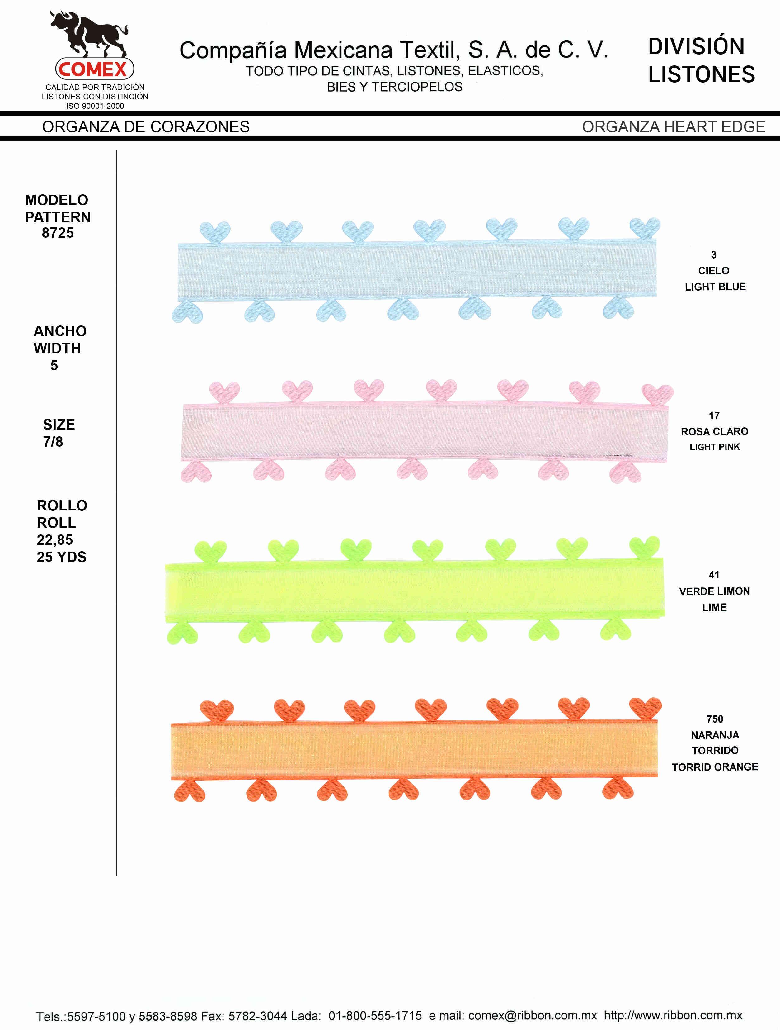 Anchos y Colores de Liston Mod.8725 22.85 Mt.
