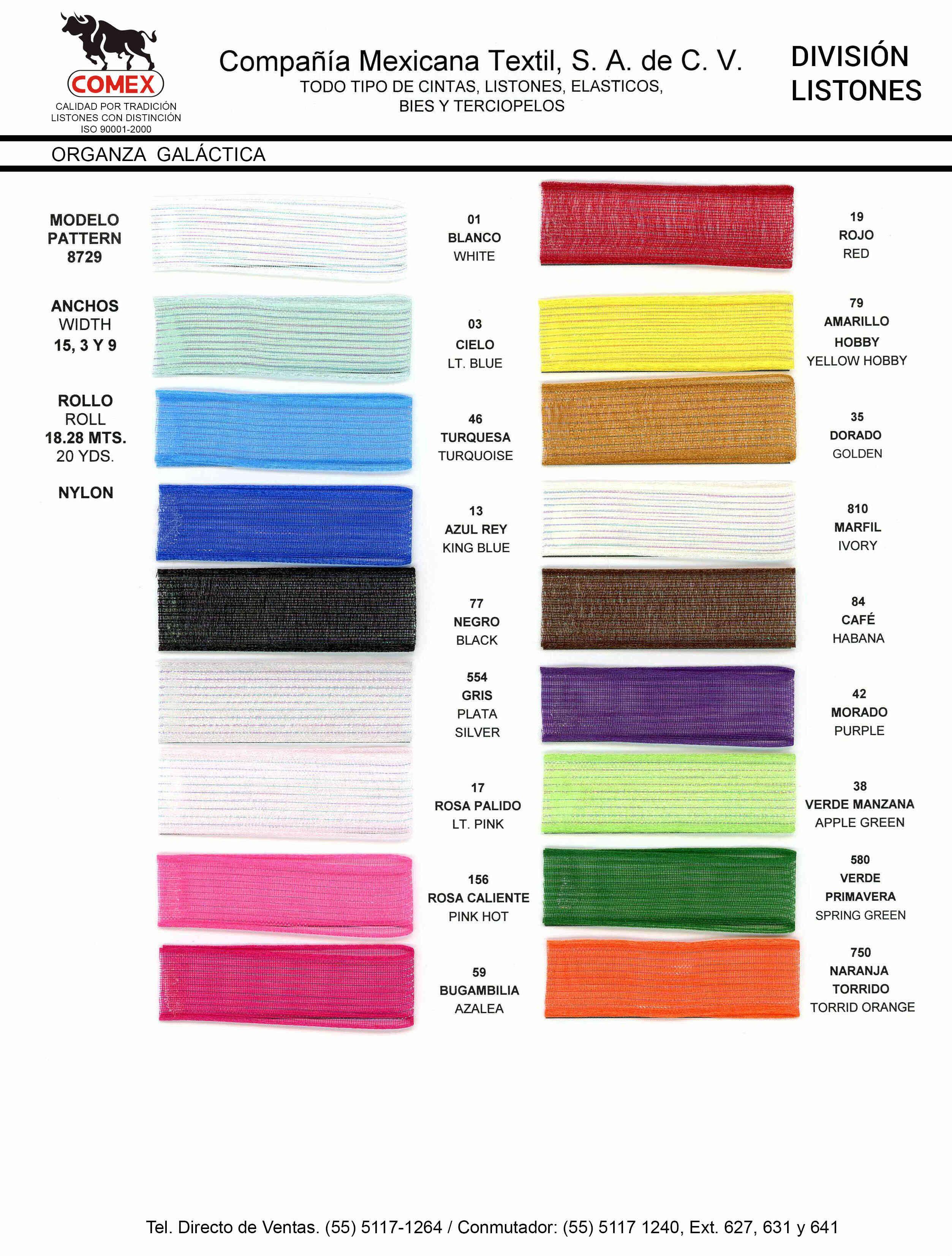 Anchos y Colores de Liston Mod.8729 18.28 Mt.