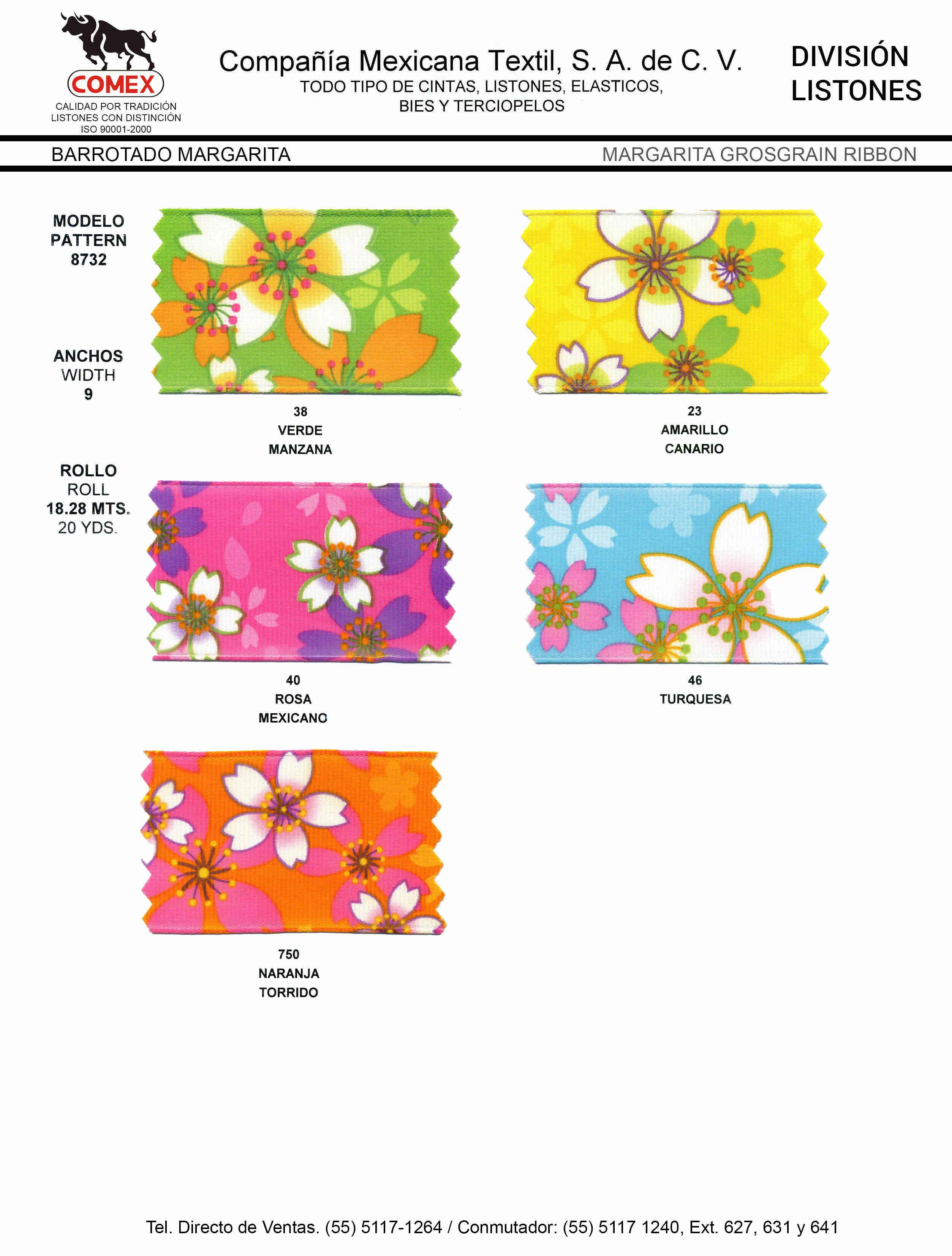 Anchos y Colores de Liston Mod.8732