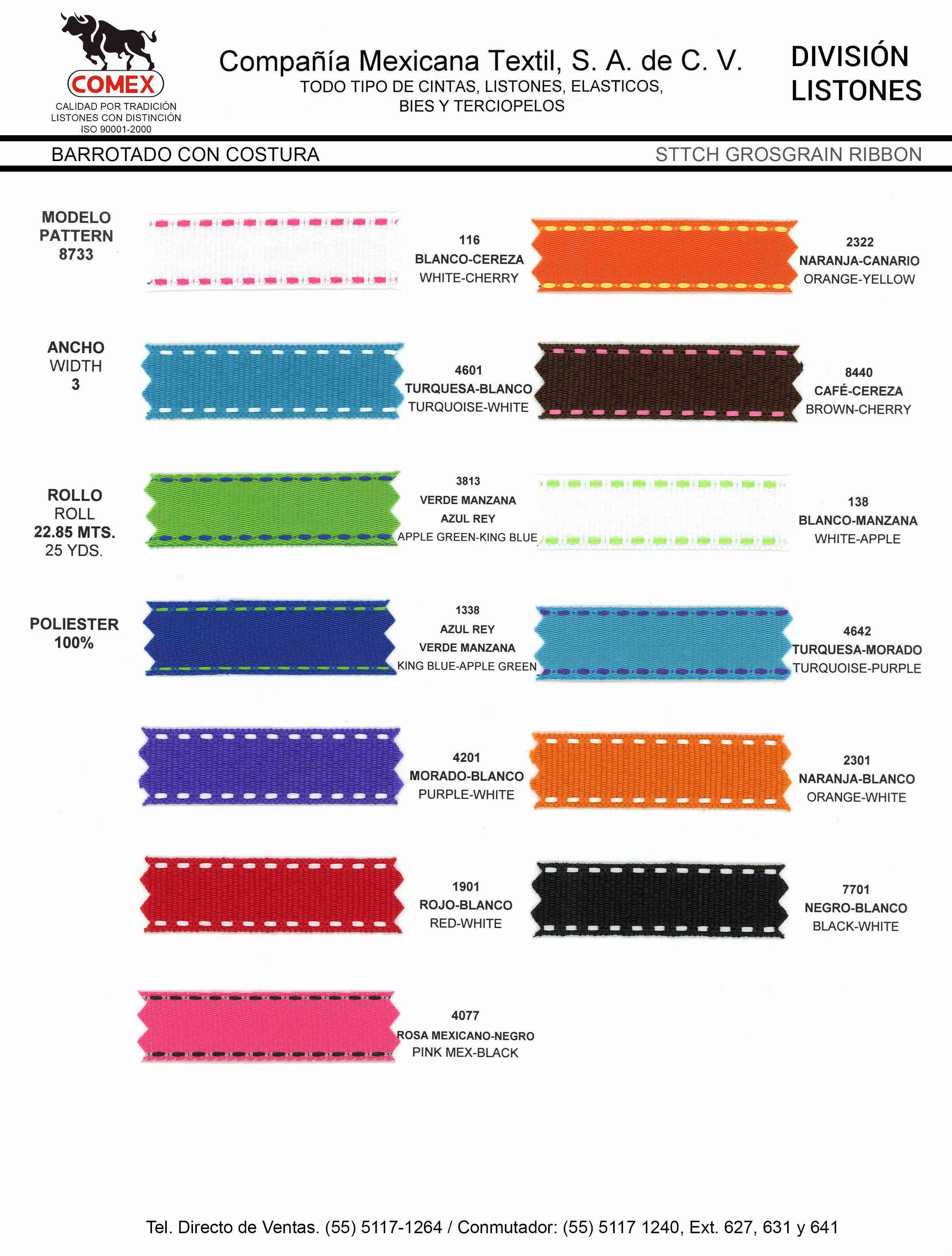 Anchos y Colores de Liston Mod.8733