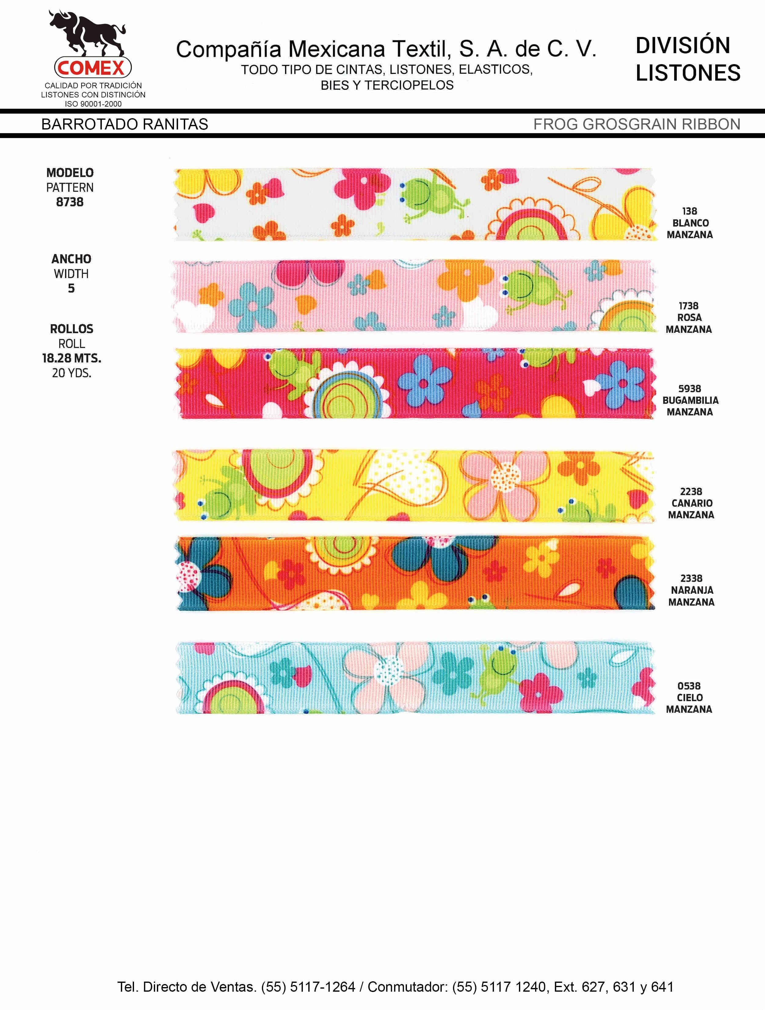 Anchos y Colores de Liston Mod.8738 18.28 Mt.