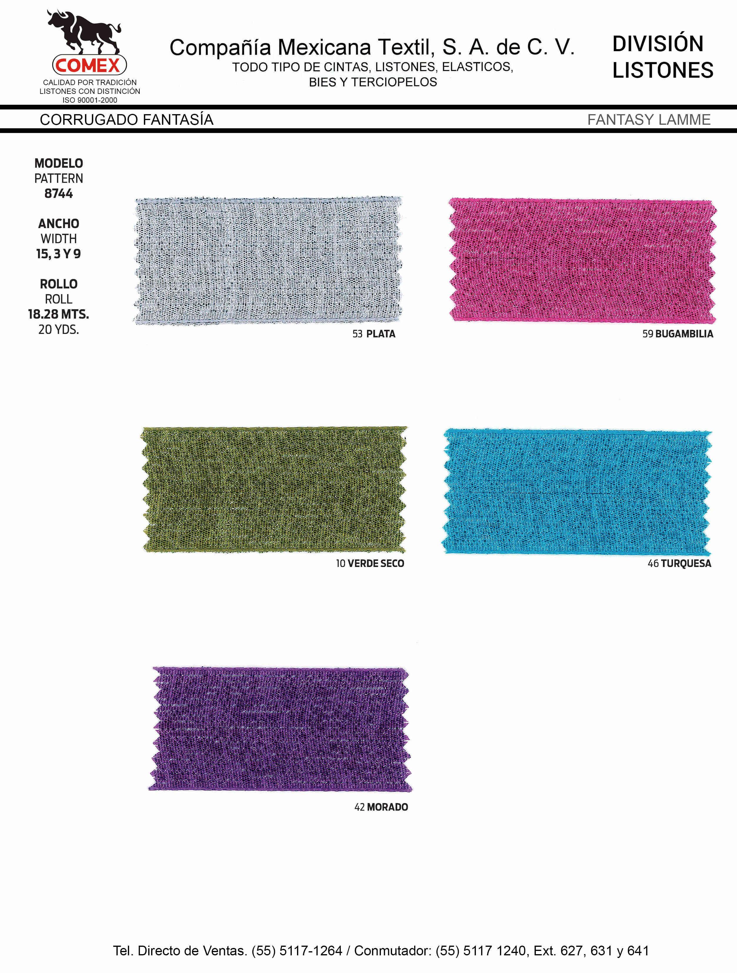 Anchos y Colores de Liston Mod.8744