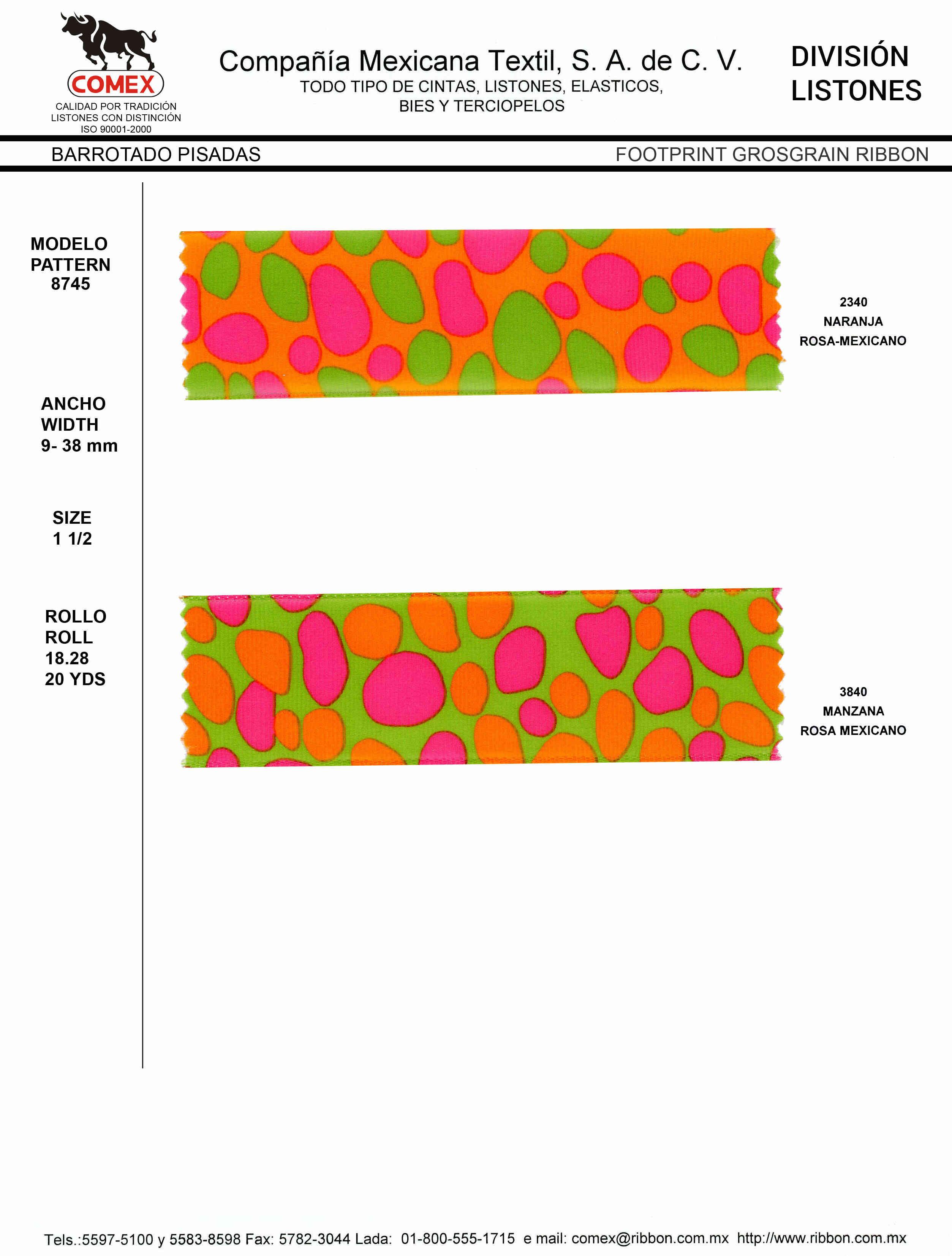 Anchos y Colores de Liston Mod.8745 18.28 Mt.