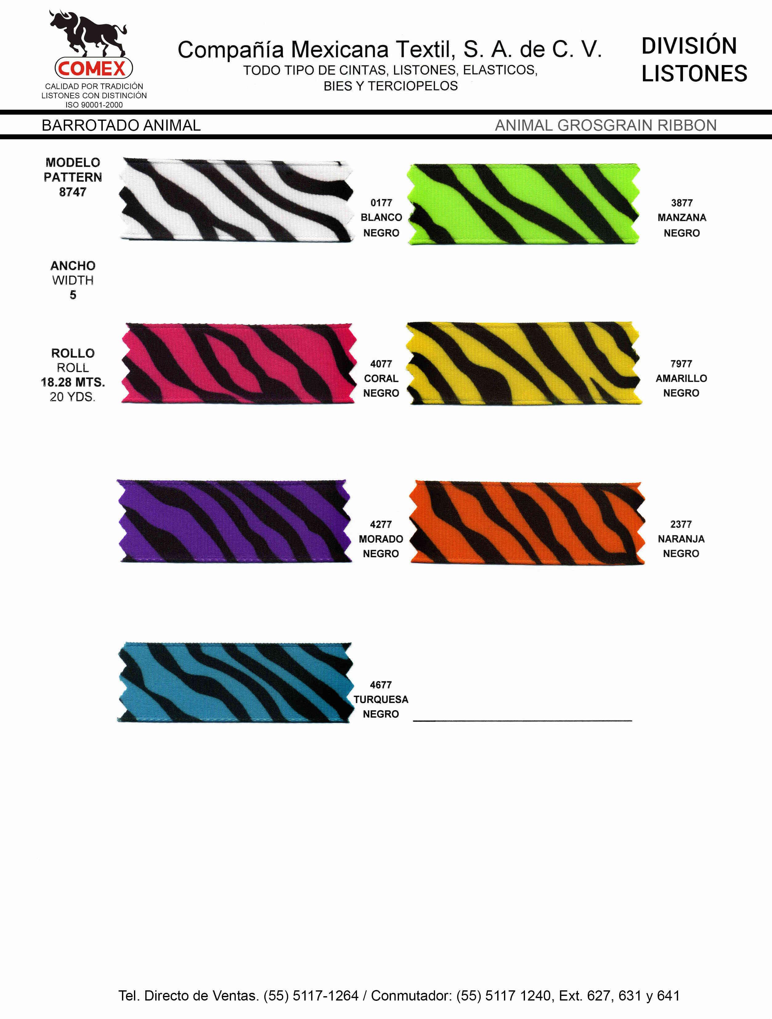 Anchos y Colores de Liston Mod.8747 18.28 Mt.