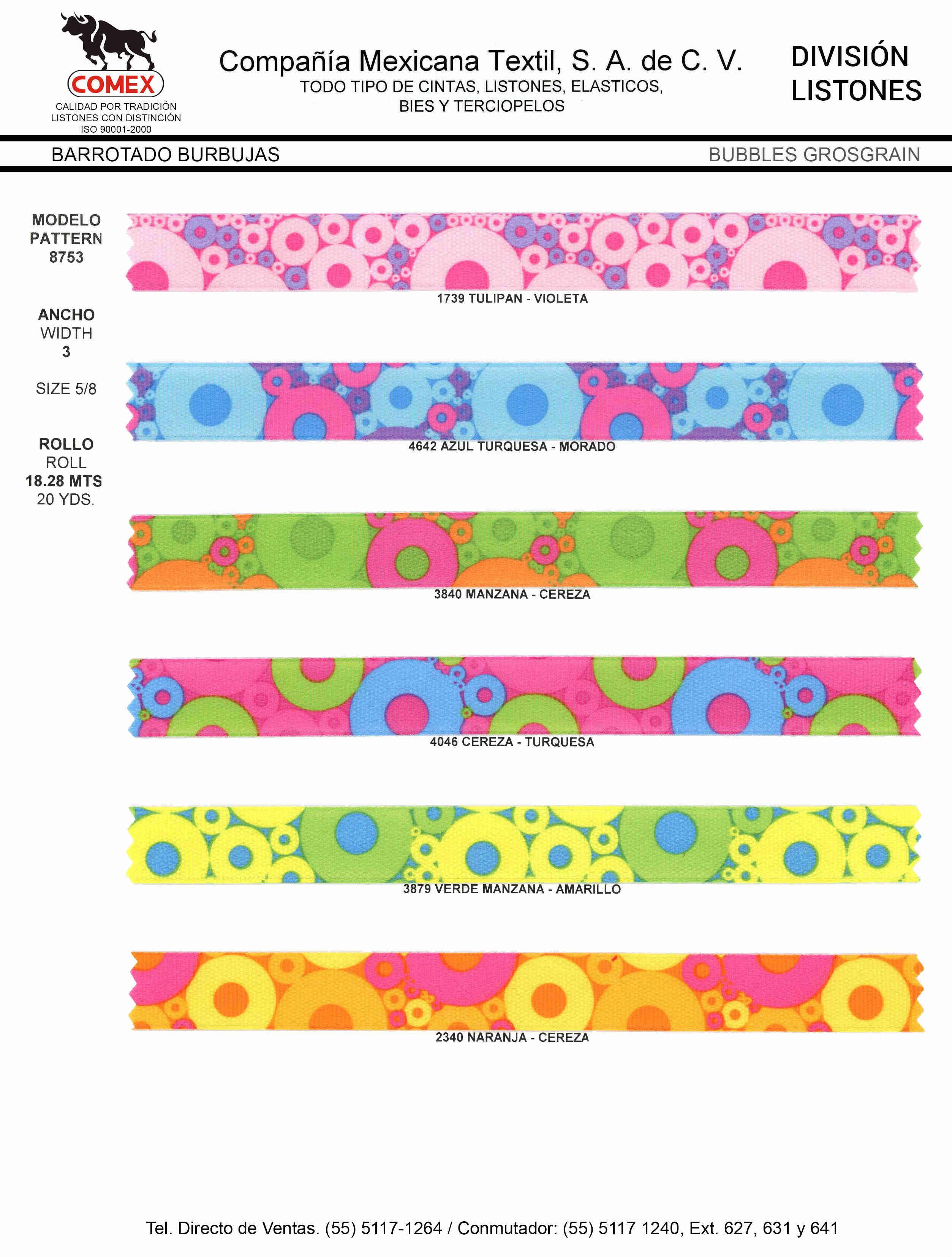 Anchos y Colores de Liston Mod.8753 18.28 Mt.