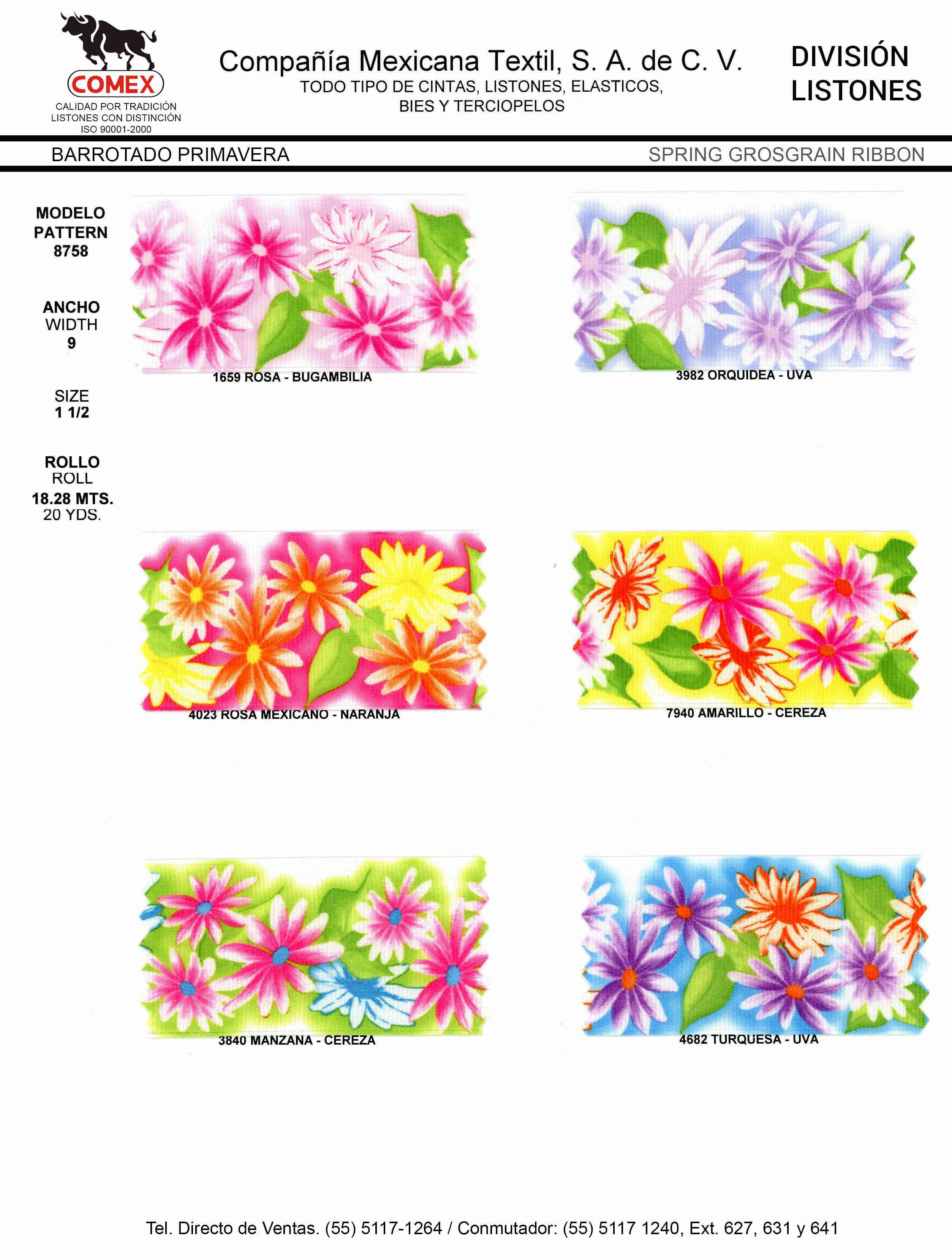 Anchos y Colores de Liston Mod.8758 18.28 Mt.
