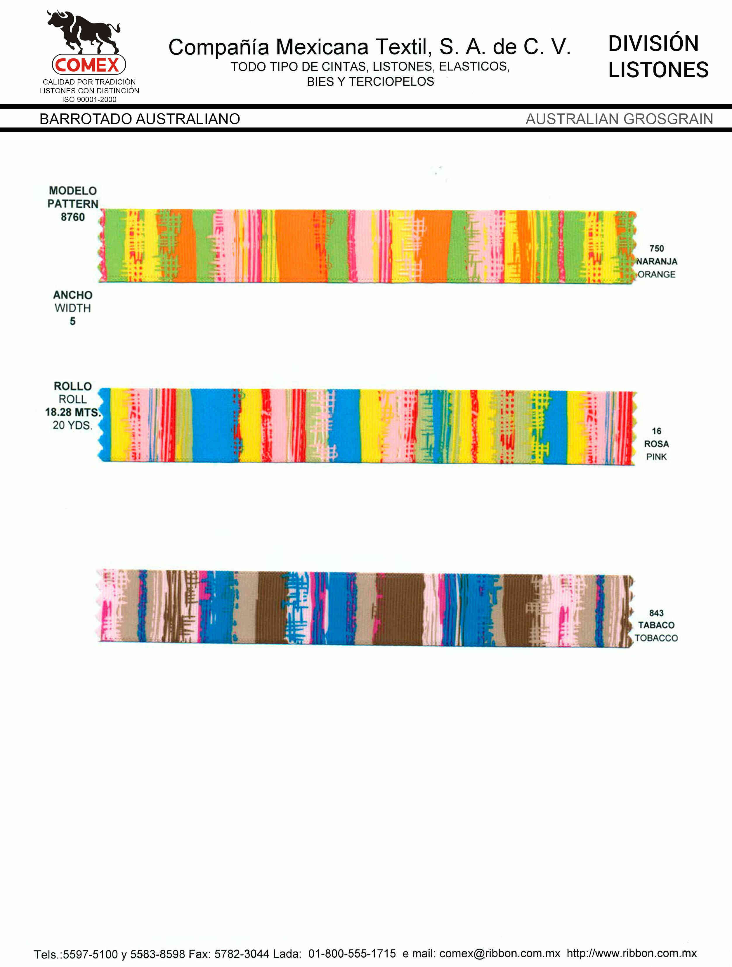 Anchos y Colores de Liston Mod.8760