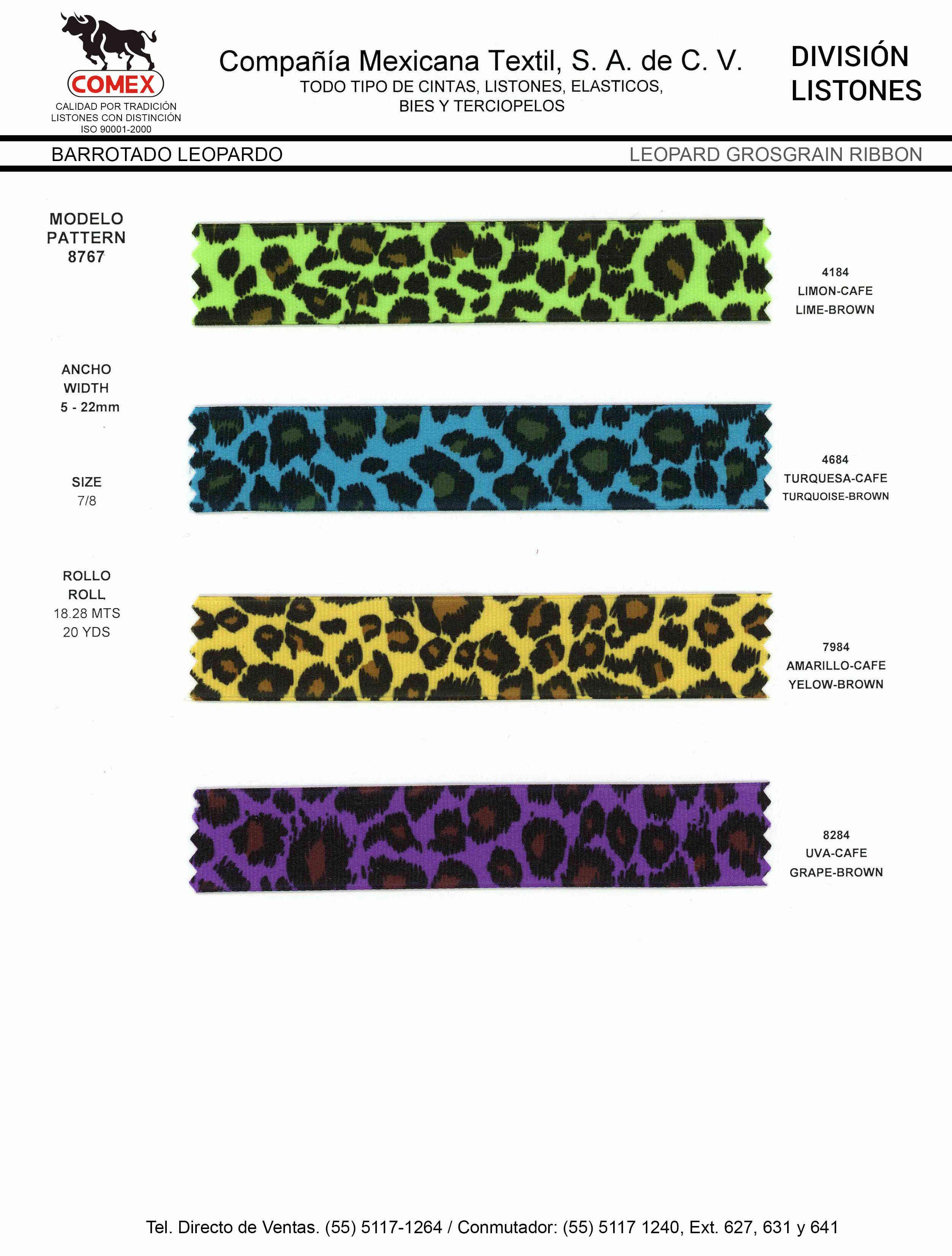 Anchos y Colores de Liston Mod.8767 18.28 Mt.