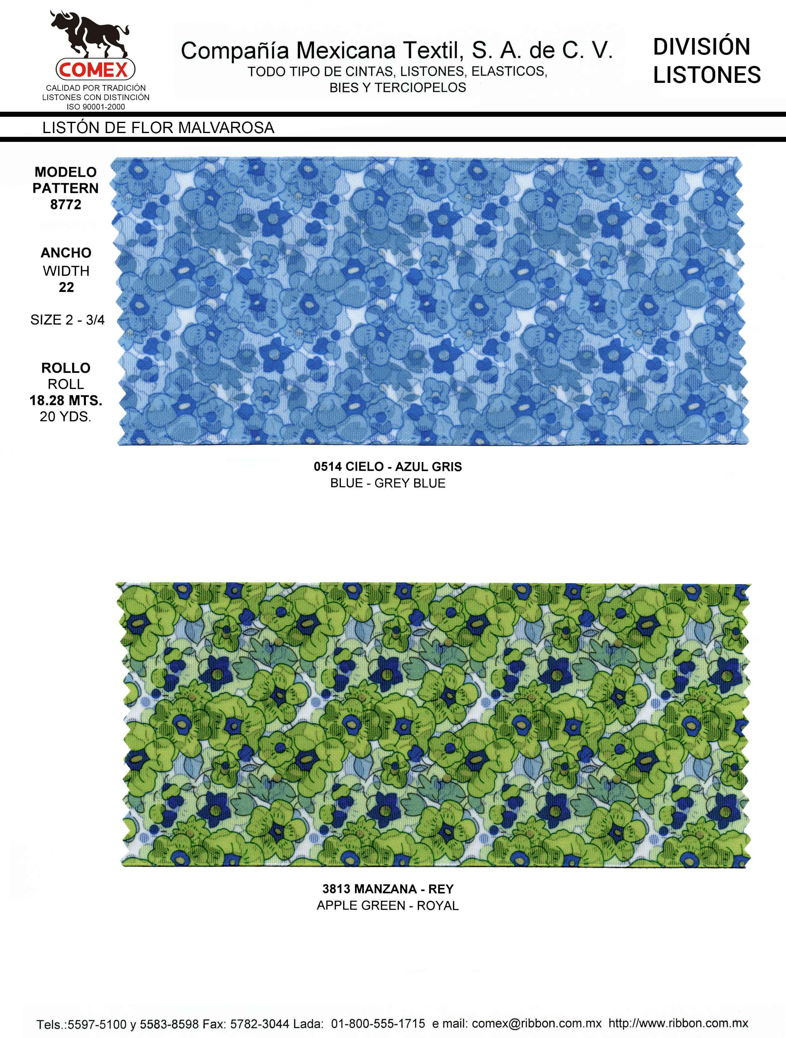 Anchos y Colores de Liston Mod.8772