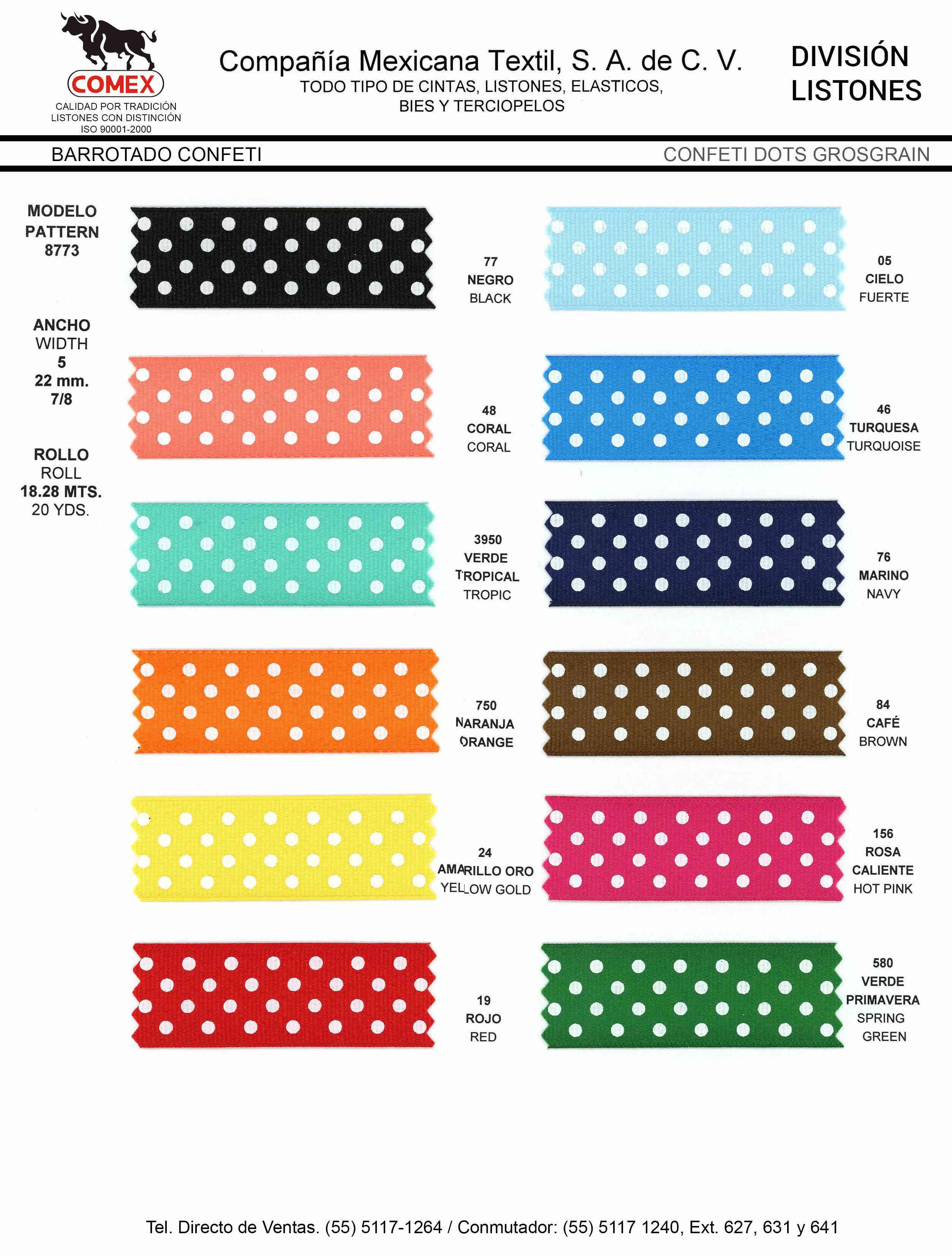 Anchos y Colores de Liston Mod.8773