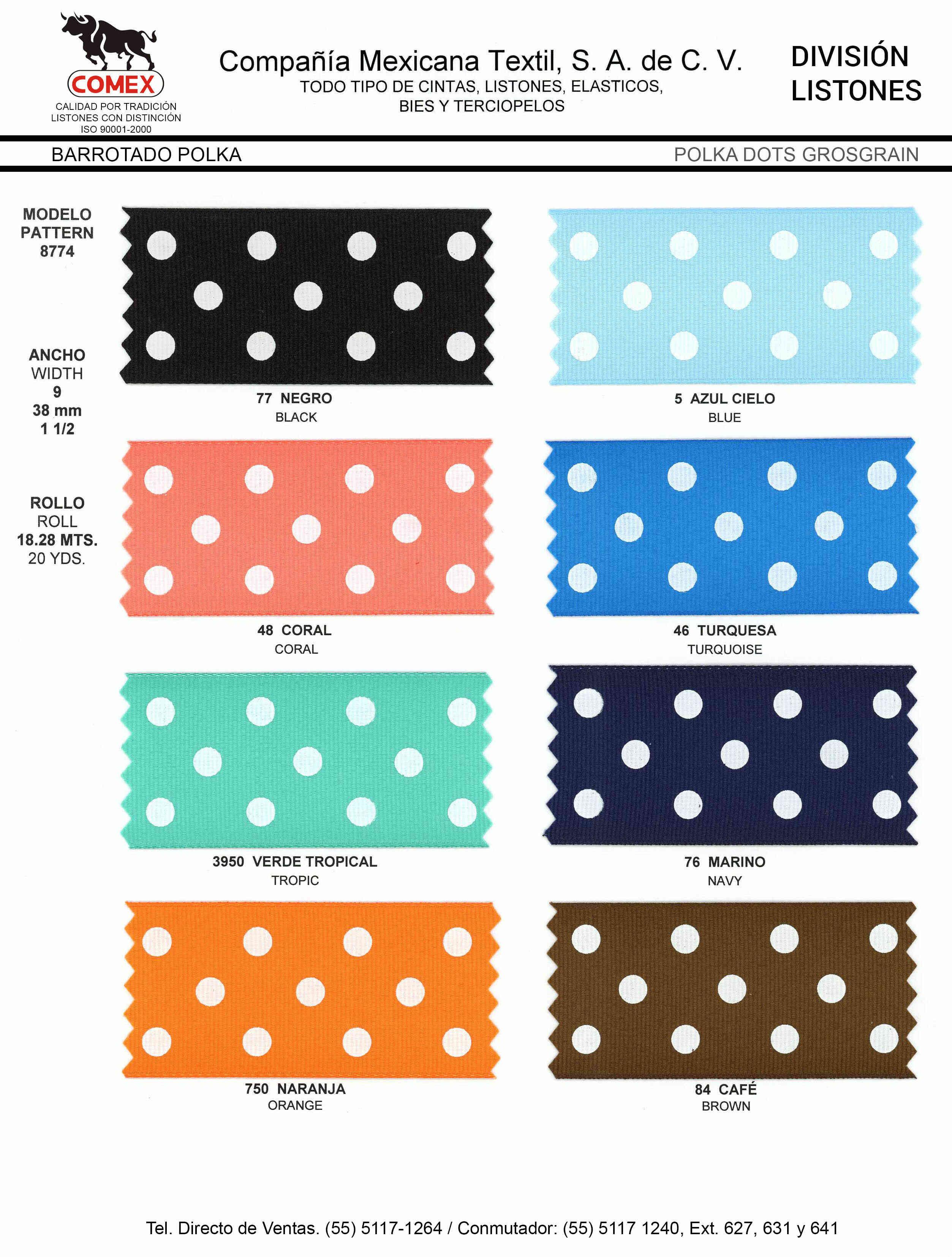 Anchos y Colores de Liston Mod.8774 18.28 Mt.