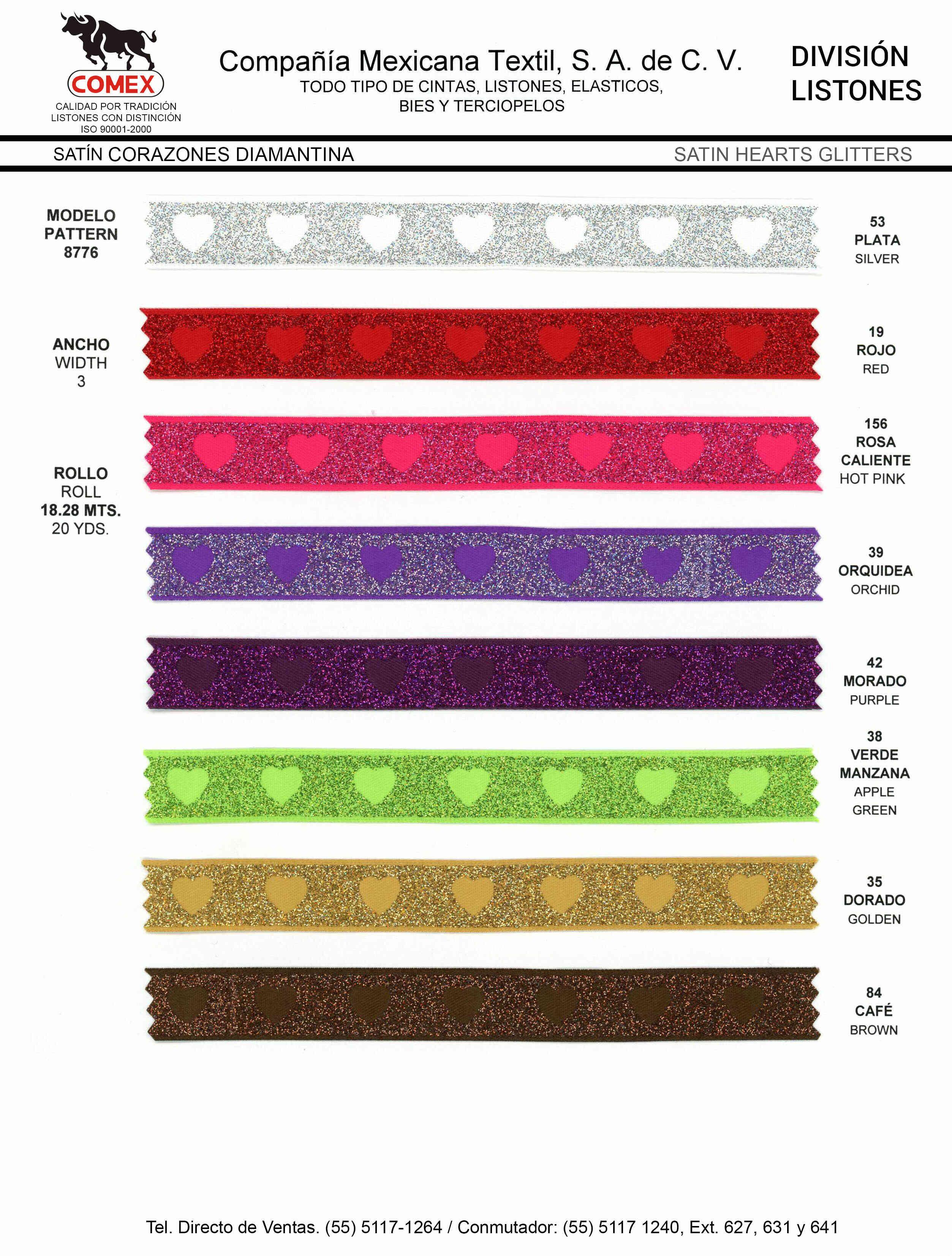 Anchos y Colores de Liston Mod.8776