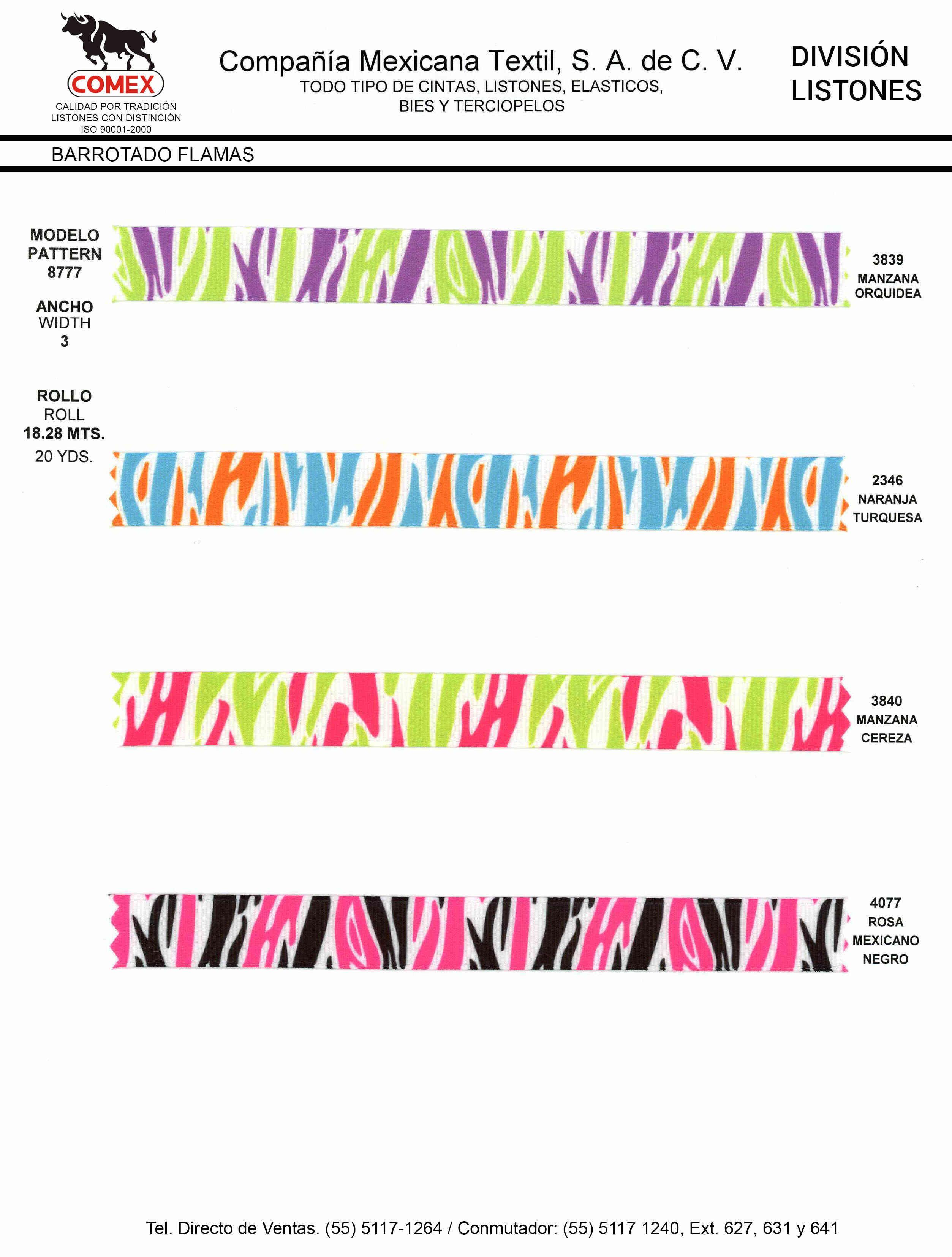 Anchos y Colores de Liston Mod.8777 18.28 Mt.