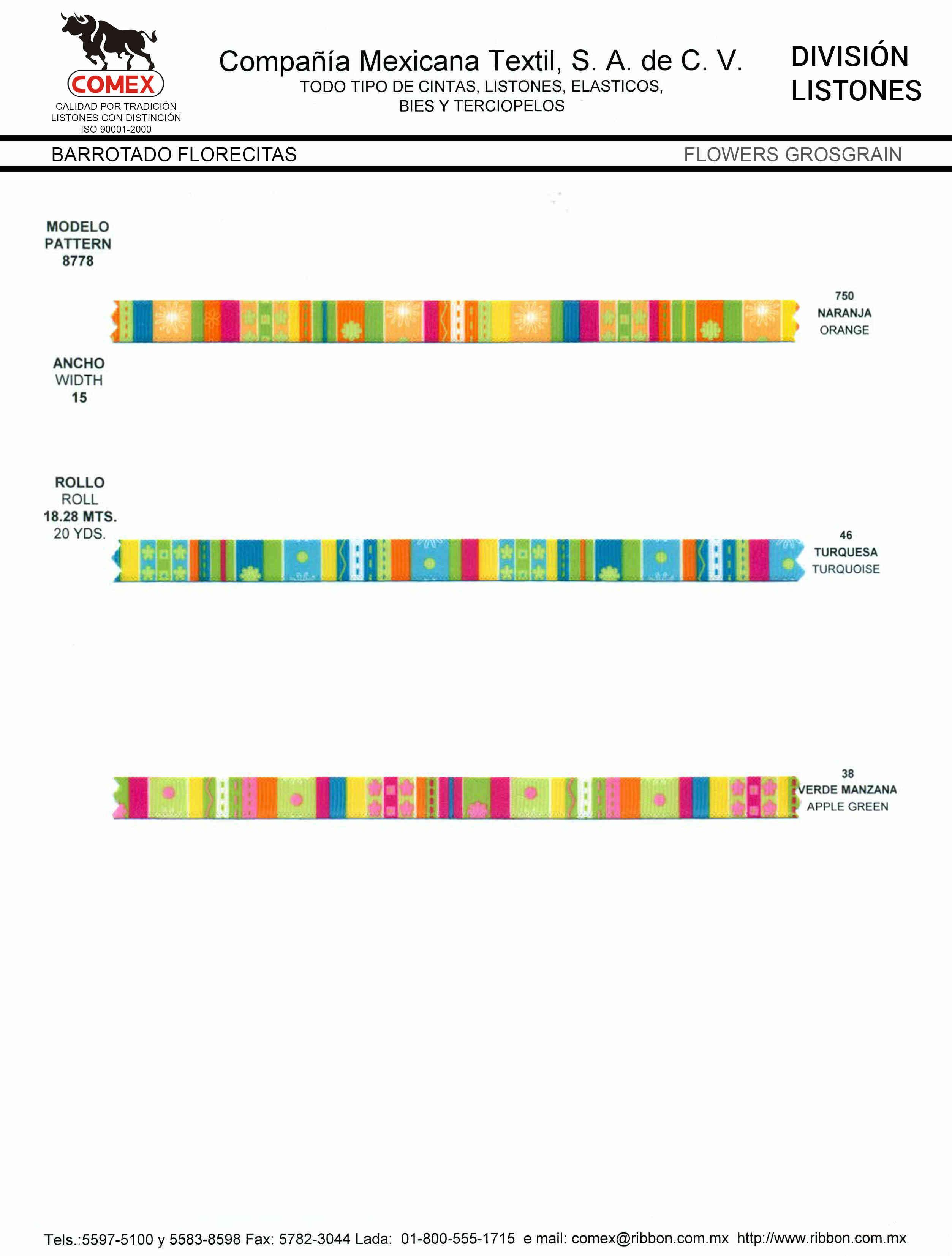 Anchos y Colores de Liston Mod.8778