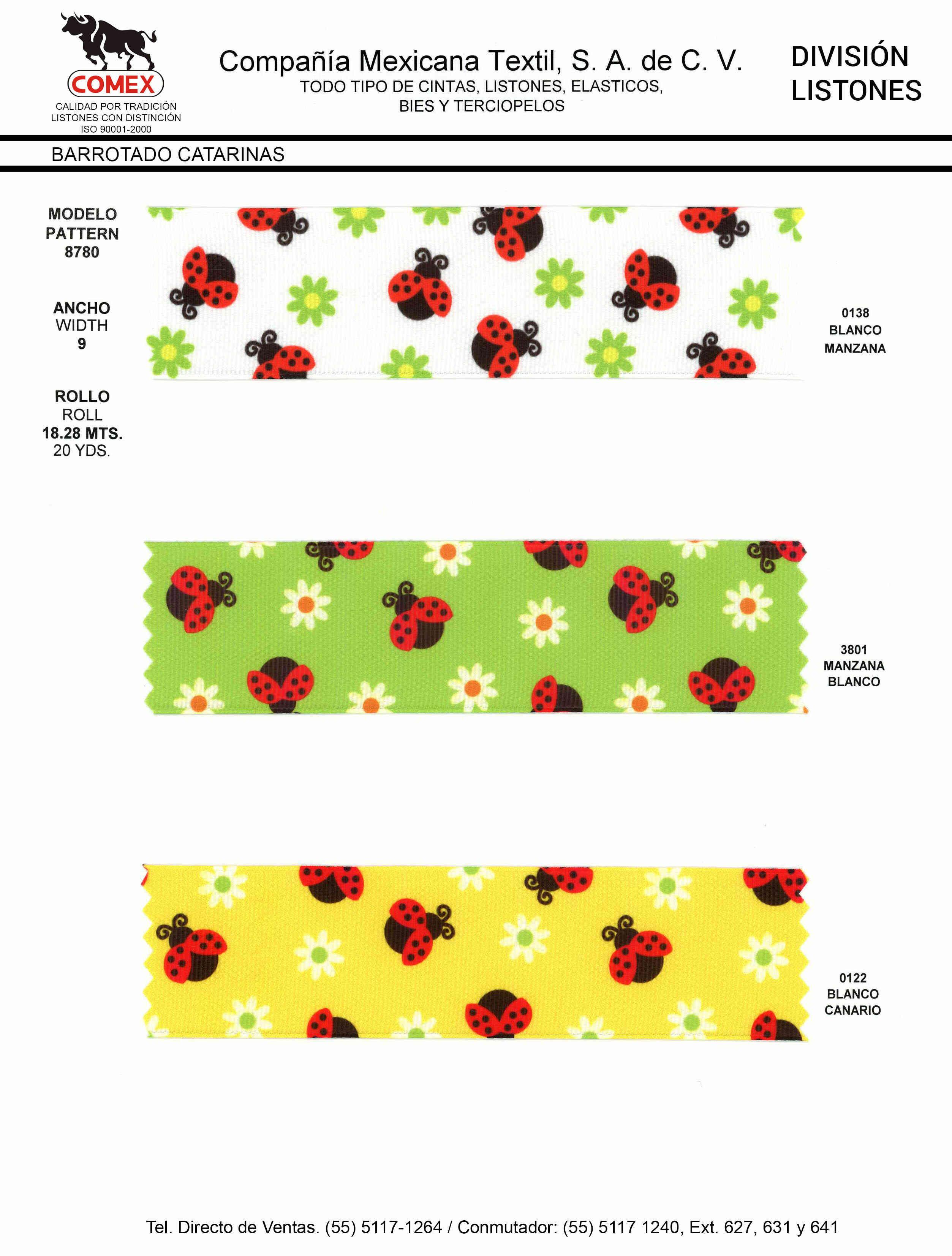 Anchos y Colores de Liston Mod.8780