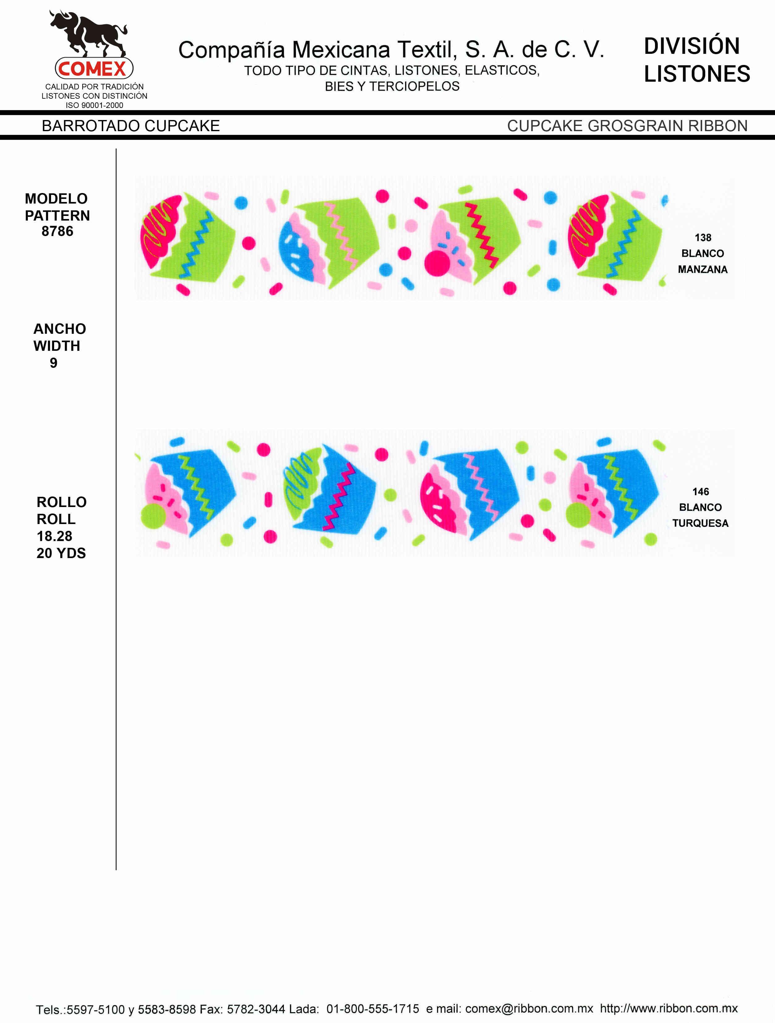 Anchos y Colores de Liston Mod.8786 18.28 Mt.