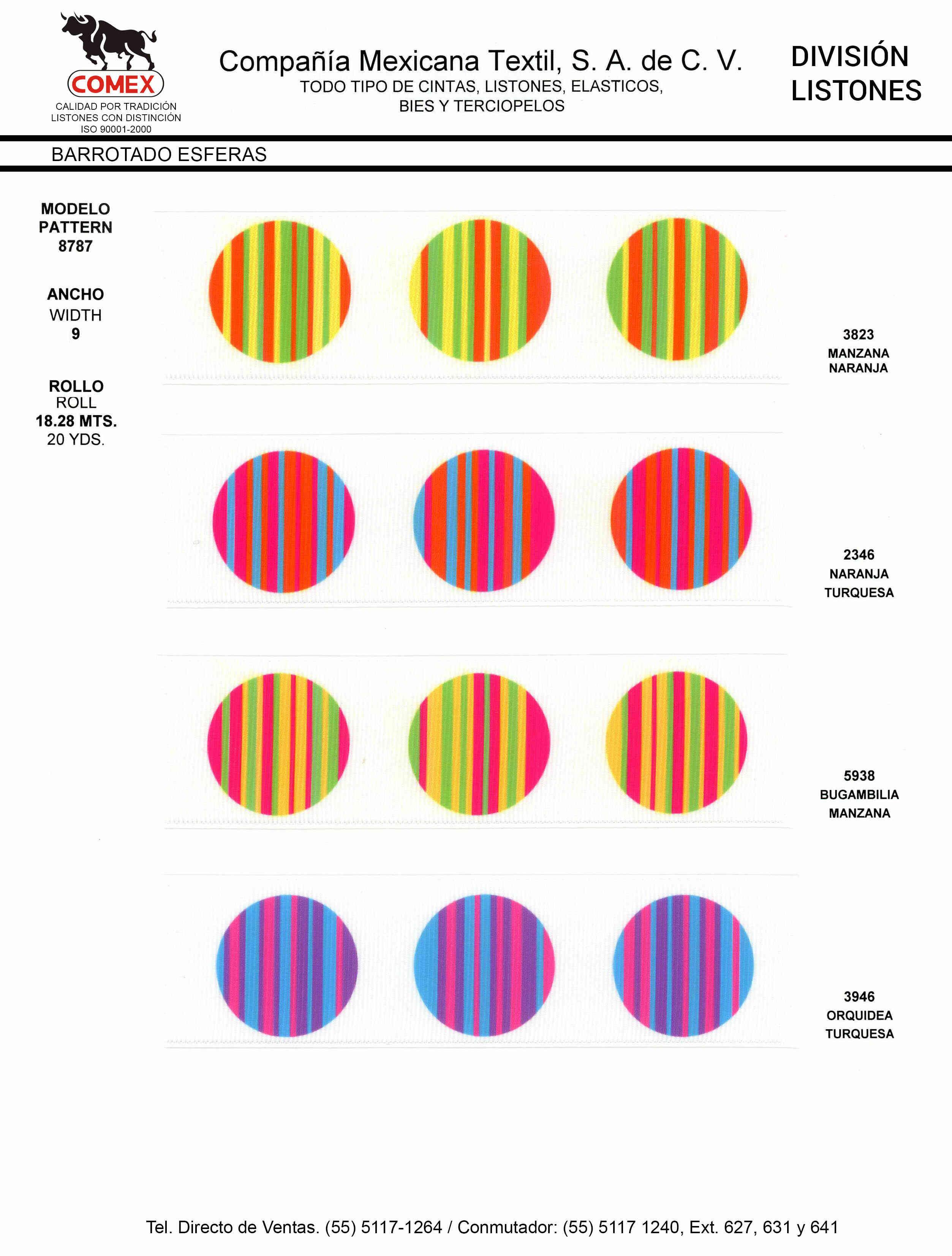 Anchos y Colores de Liston Mod.8787 18.28 Mt.