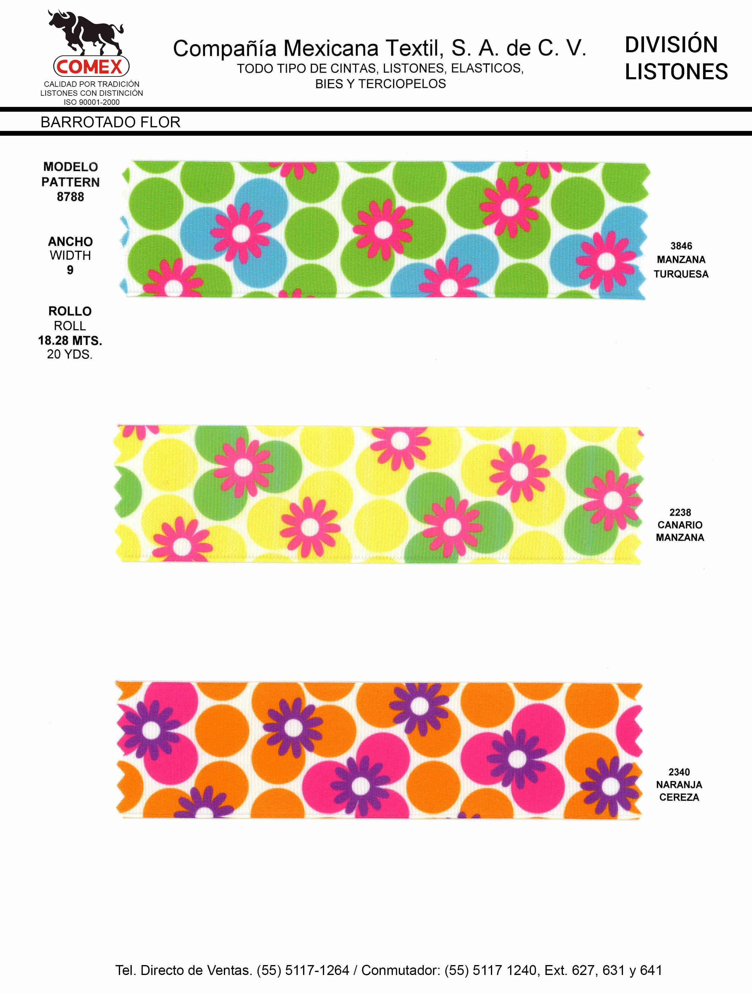Anchos y Colores de Liston Mod.8788